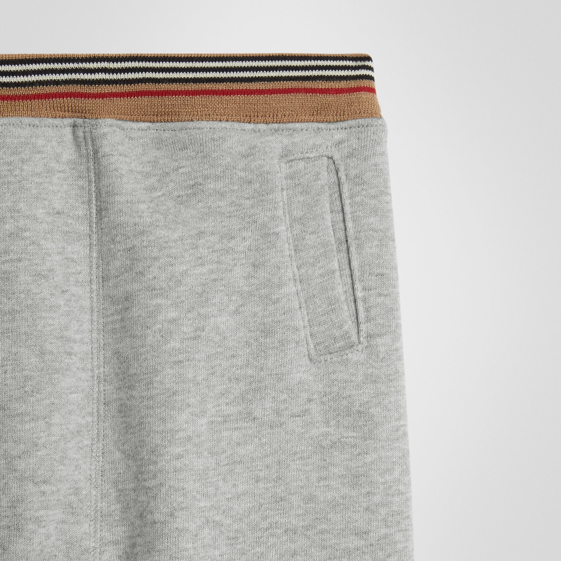 Icon Stripe Cotton Jersey Sweatpants in Grey Melange - Children | Burberry United Kingdom - gallery image 4