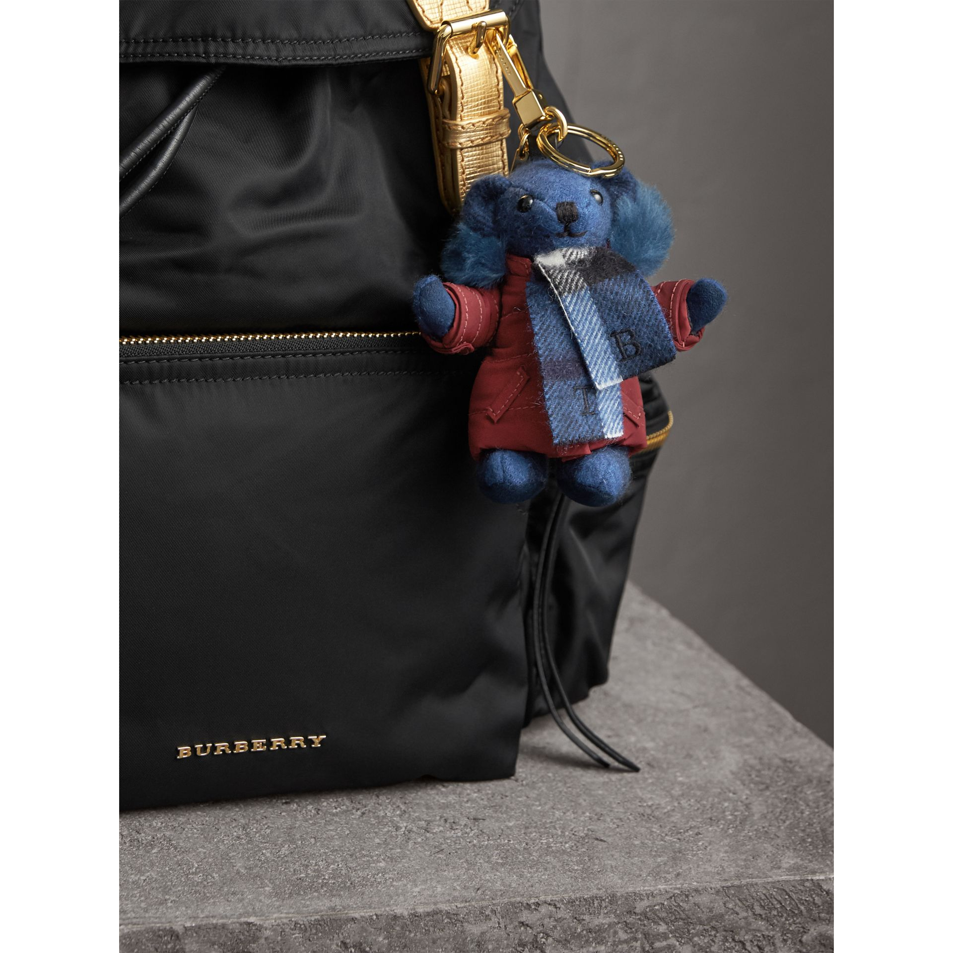 Thomas Bear Charm in Puffer Coat and Scarf in Cadet Blue - Women | Burberry - gallery image 3