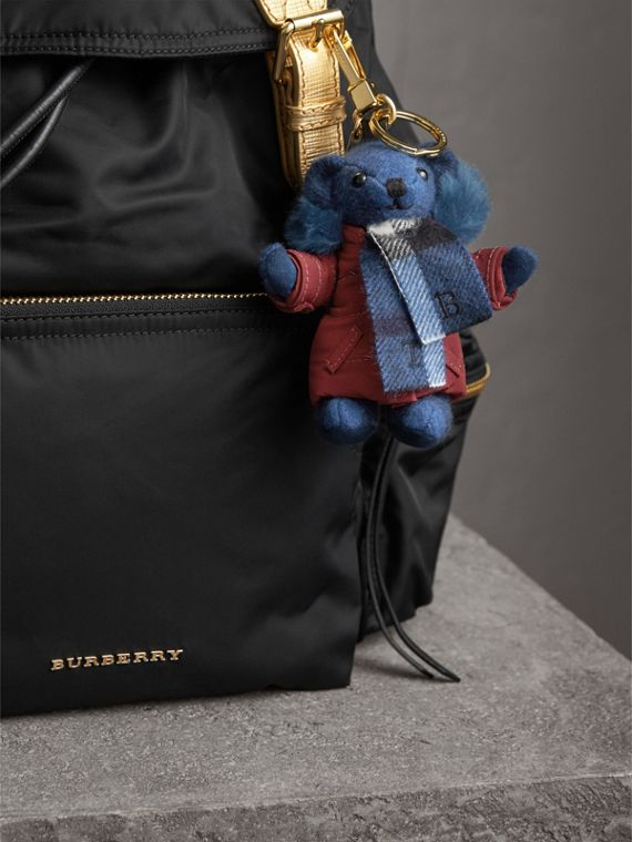 Thomas Bear Charm in Puffer Coat and Scarf in Cadet Blue - Women | Burberry - cell image 2