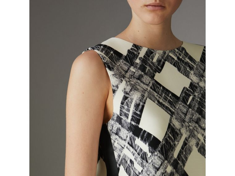 Sleeveless Check Print Wool Silk Top in Stone - Women | Burberry - cell image 1