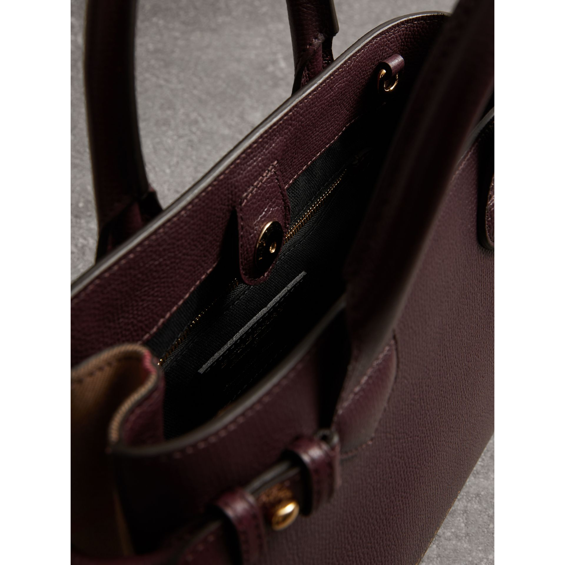 The Small Banner in Leather and House Check in Mahogany Red - Women | Burberry United Kingdom - gallery image 4