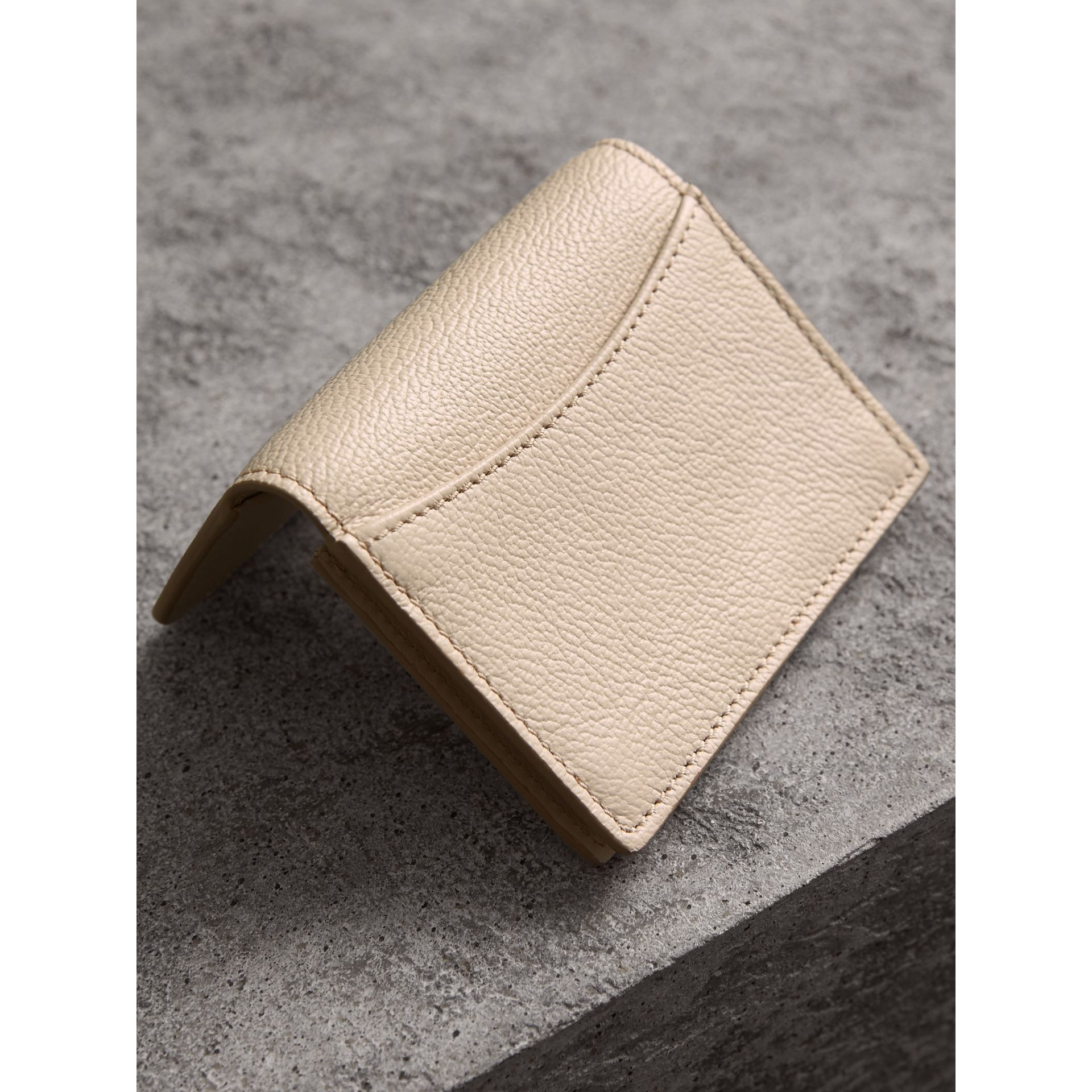 Grainy Leather Card Case in Limestone - Women | Burberry - gallery image 3