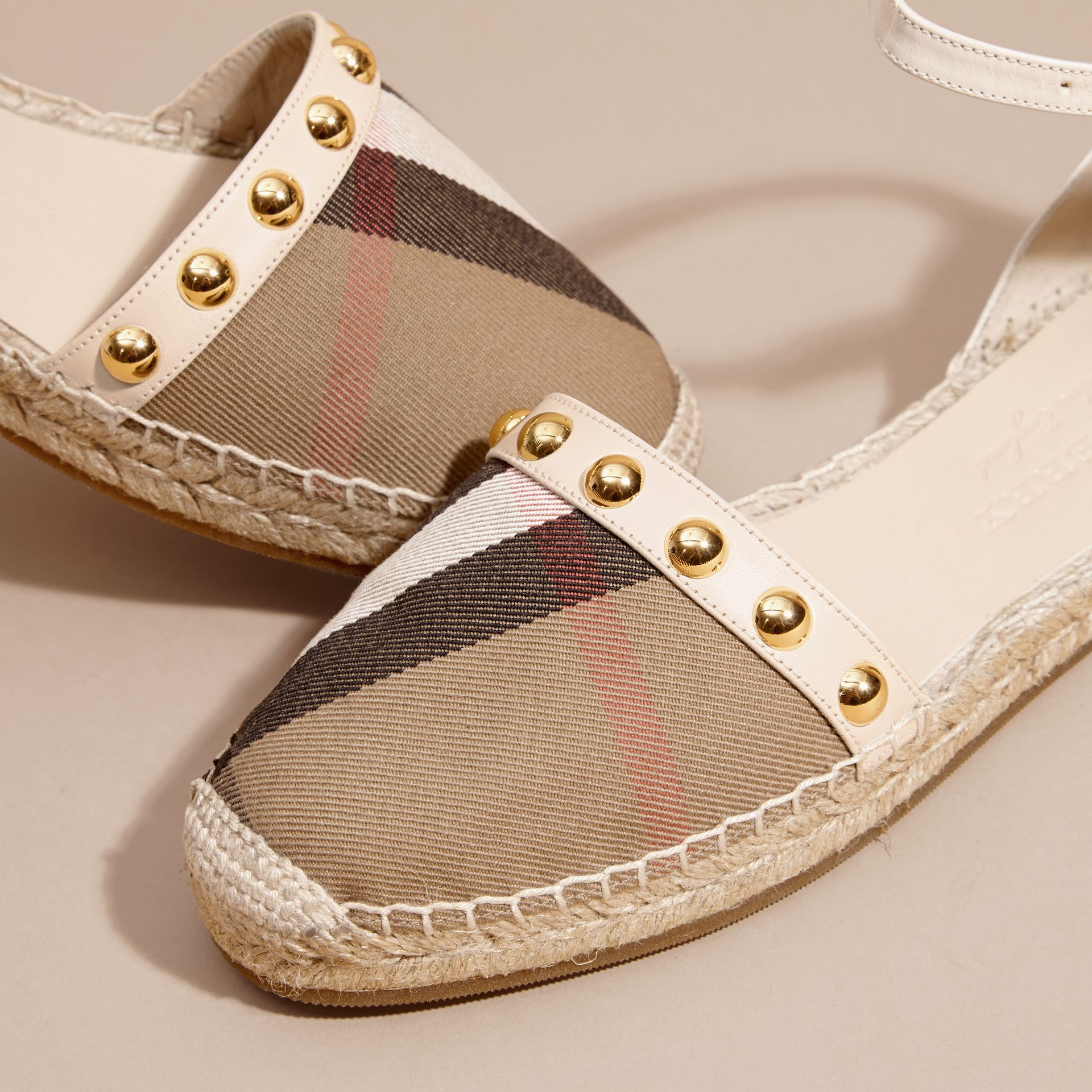 Cream Studded Leather and House Check Espadrille Sandals Cream - gallery image 2