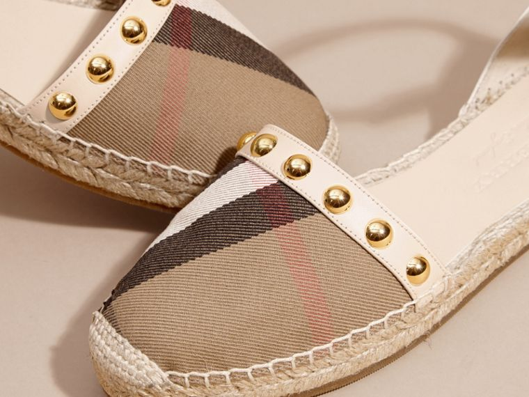 Cream Studded Leather and House Check Espadrille Sandals Cream - cell image 1
