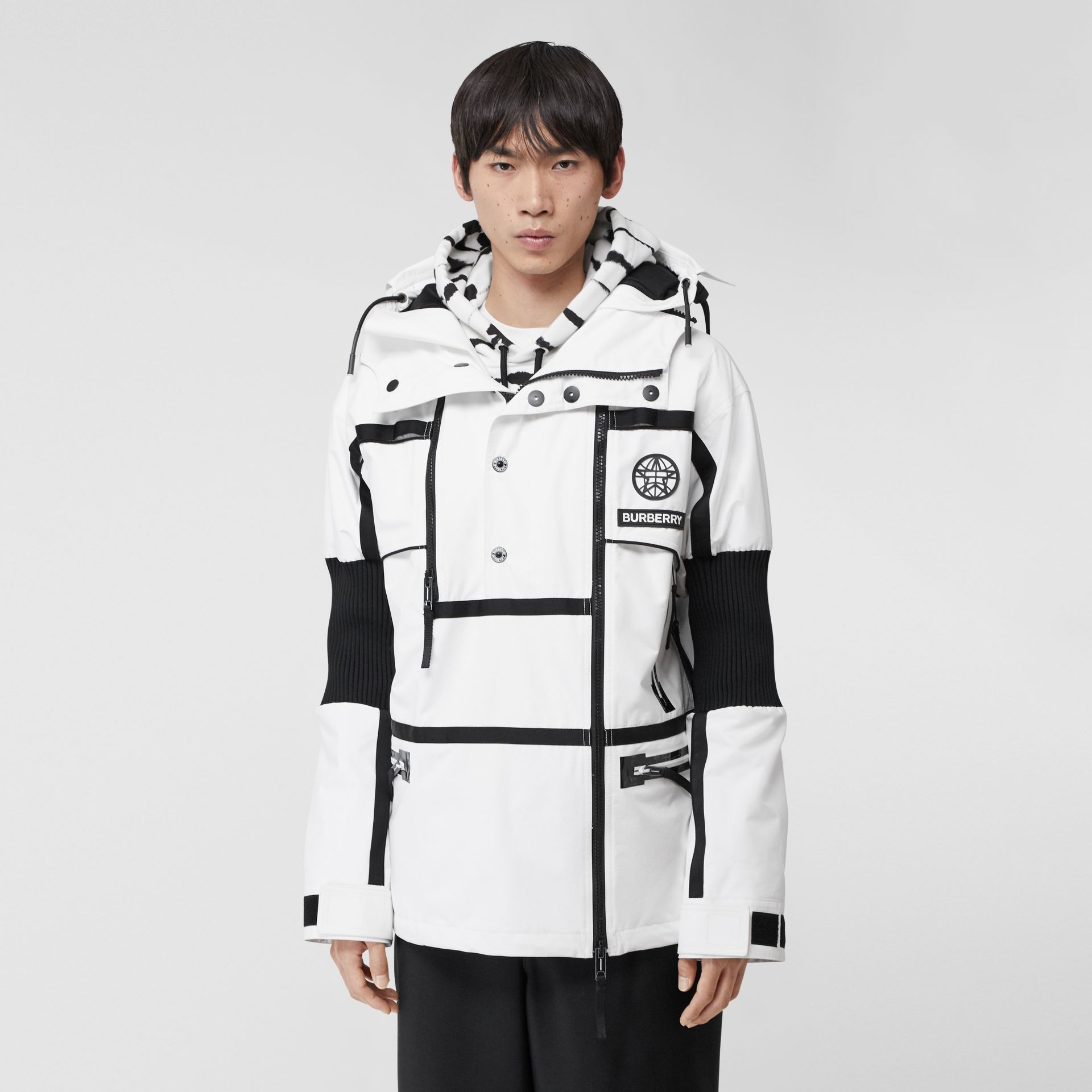 Globe Graphic Nylon Reconstructed Track Jacket in Optic White | Burberry - gallery image 6
