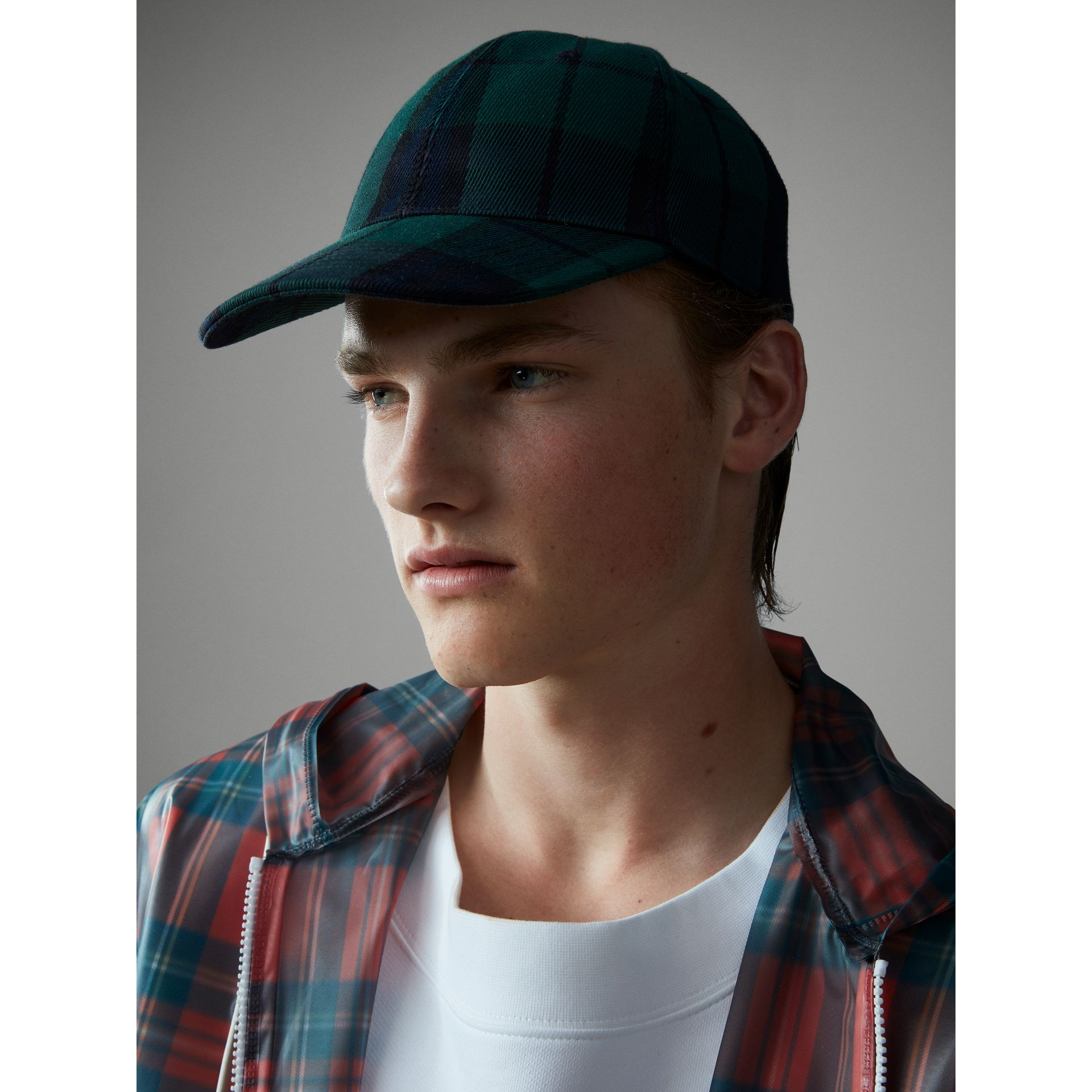 Tartan Baseball Cap in Racing Green | Burberry - gallery image 4
