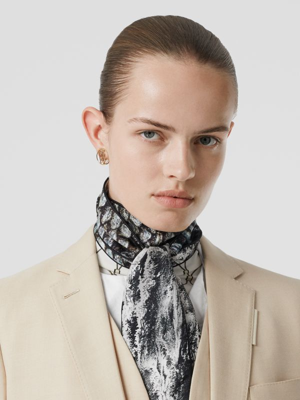 Sea and Fish-scale Print Silk Skinny Scarf in Grey | Burberry United States - cell image 2