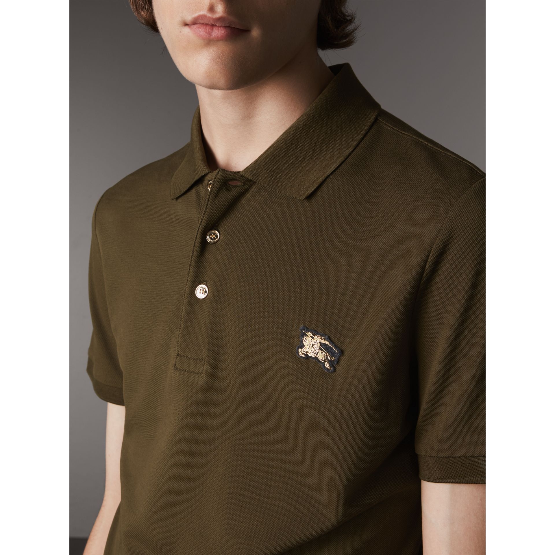 Cotton Piqué Polo Shirt in Dark Olive - Men | Burberry - gallery image 2