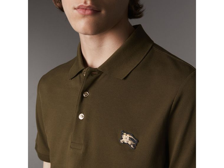 Cotton Piqué Polo Shirt in Dark Olive - Men | Burberry - cell image 1