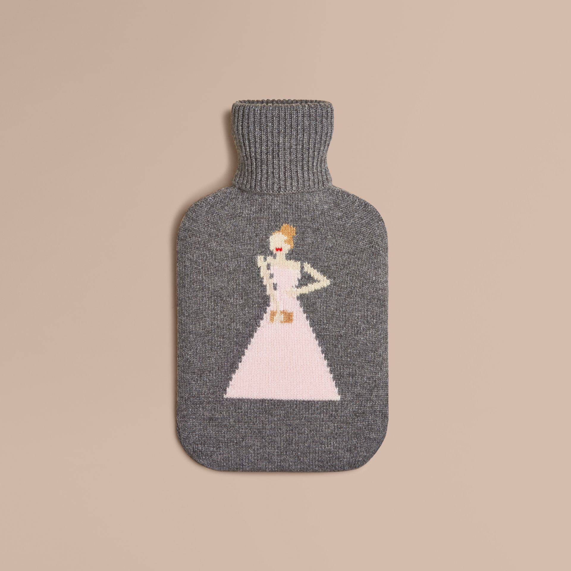 Mid grey melange The Beauty Cashmere Hot Water Bottle Cover - gallery image 1