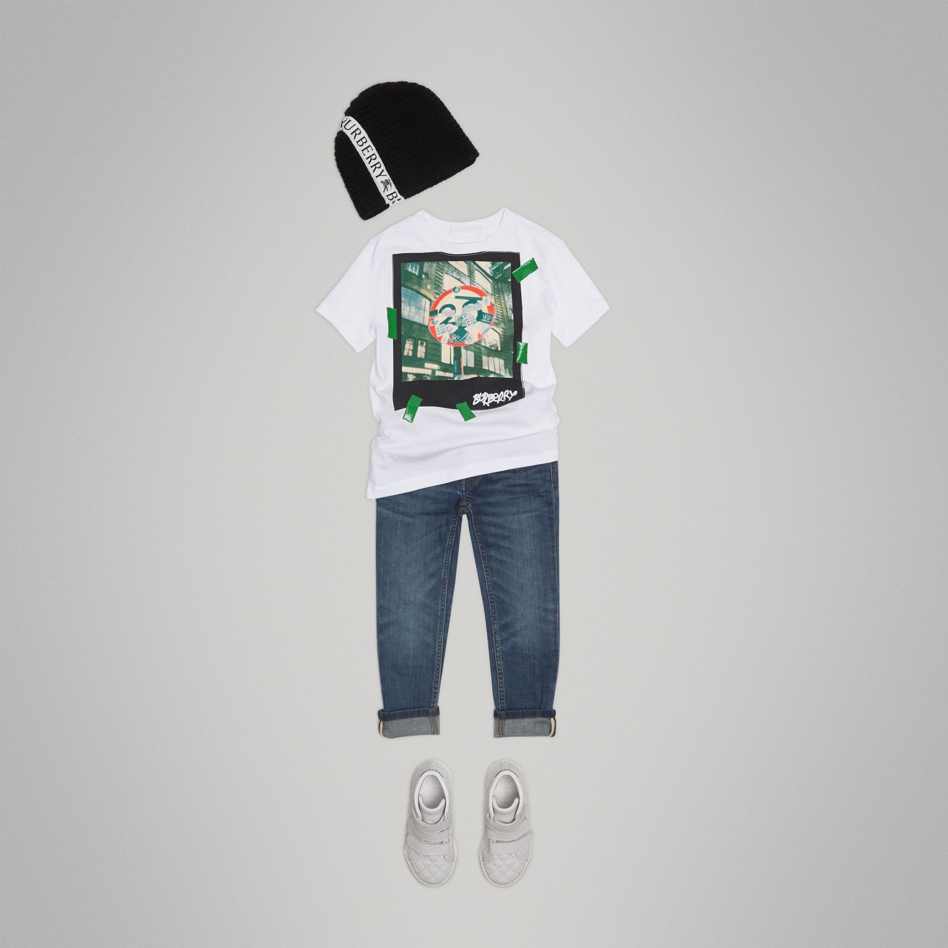 London Polaroid Print Cotton T-shirt in White - Boy | Burberry - gallery image 2