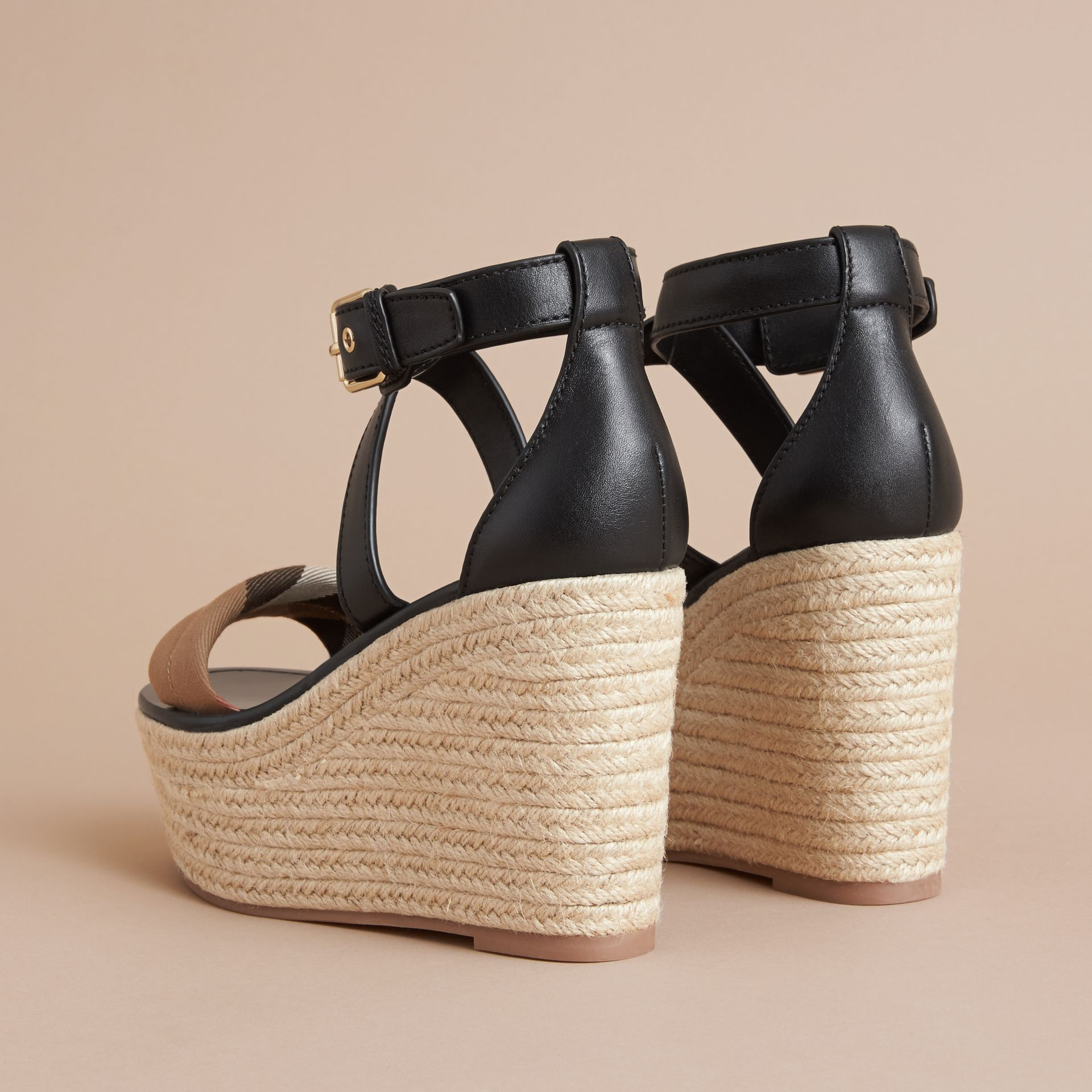Leather and House Check Platform Espadrille Wedge Sandals in Black - Women | Burberry - gallery image 5