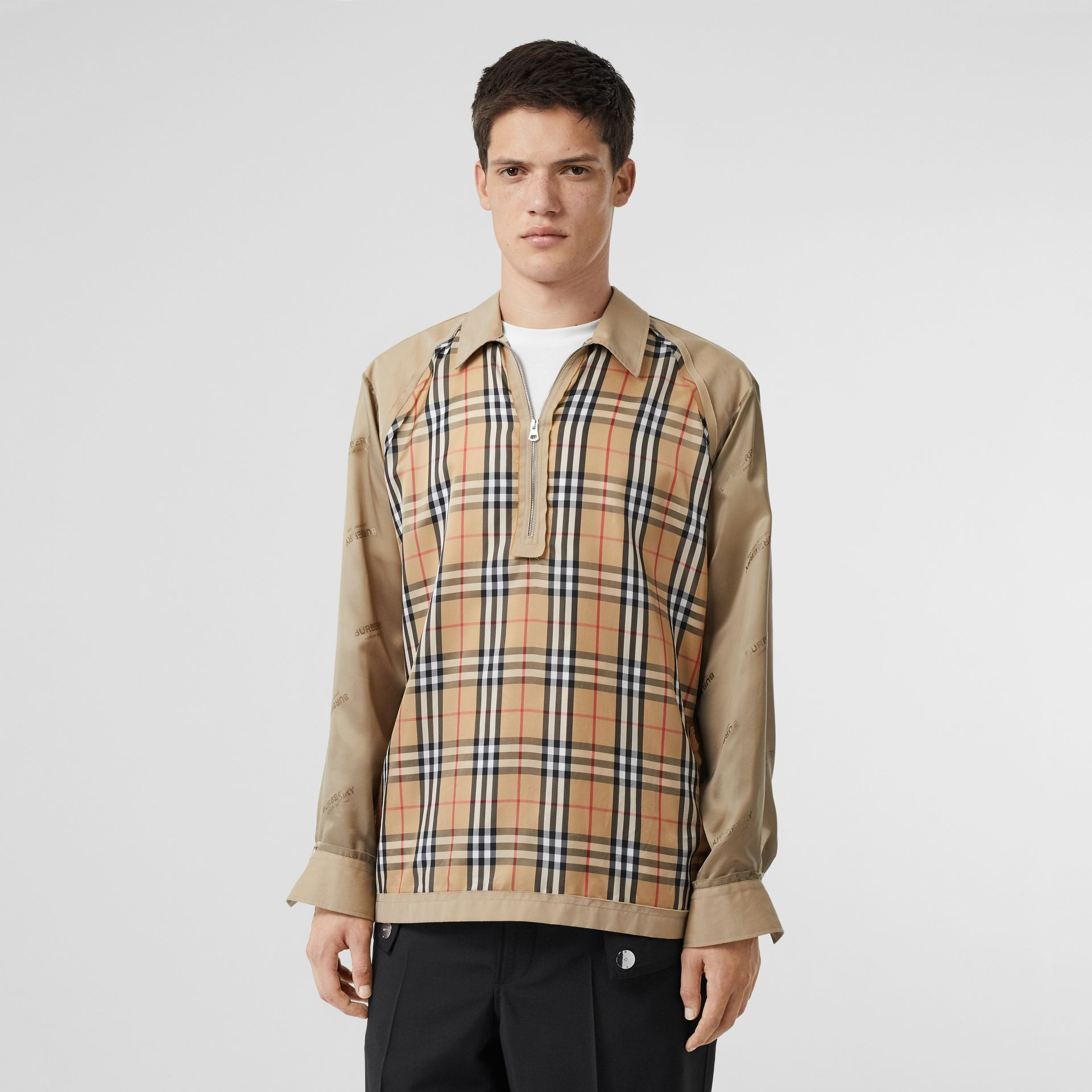Seam Detail Vintage Check Shirt in Archive Beige - Men   Burberry United States - gallery image 4