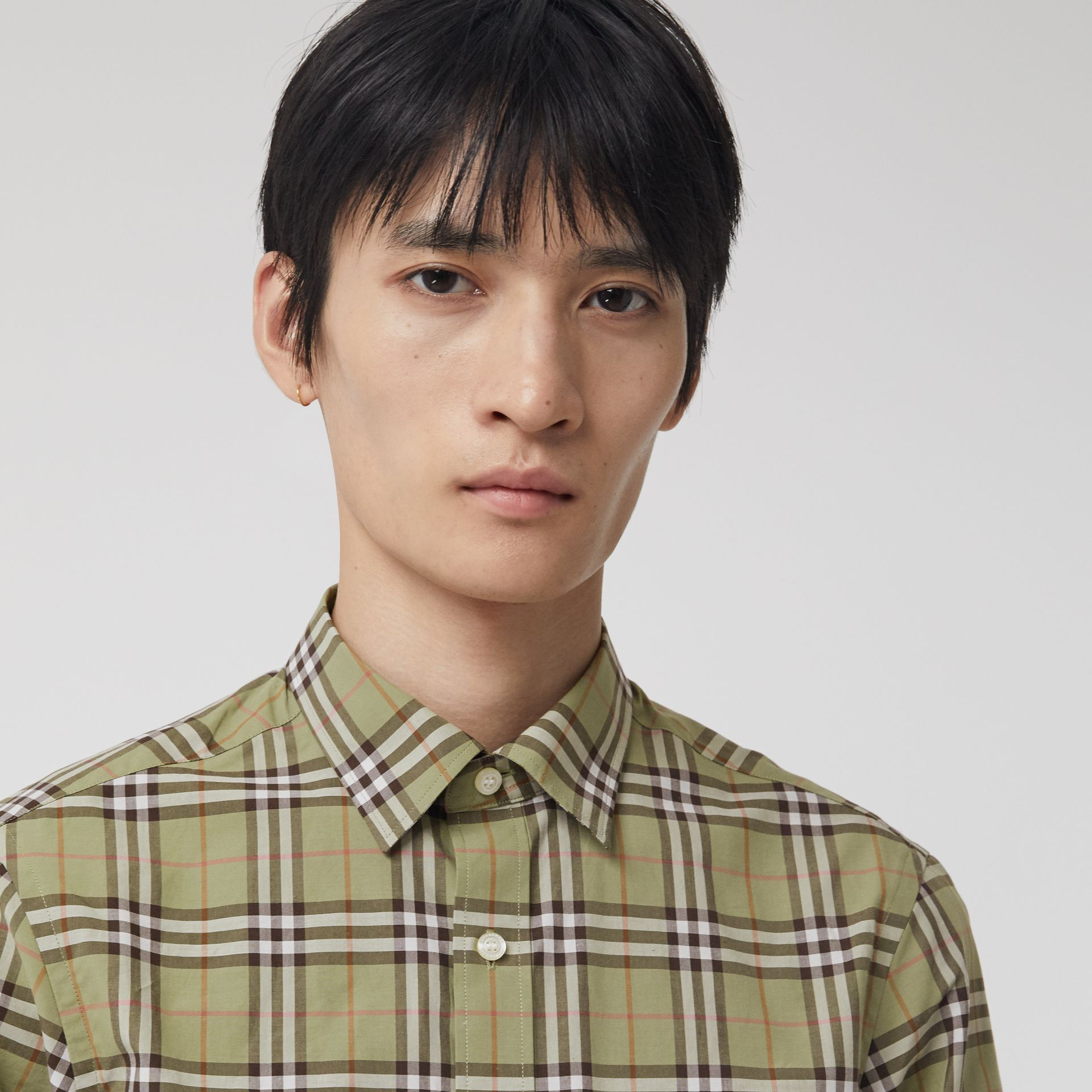 Check Cotton Shirt in Pale Powdr Green - Men | Burberry - gallery image 1