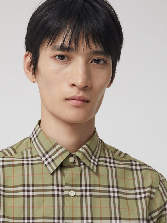 Check Cotton Shirt in Pale Powdr Green - Men | Burberry Canada - cell image 1
