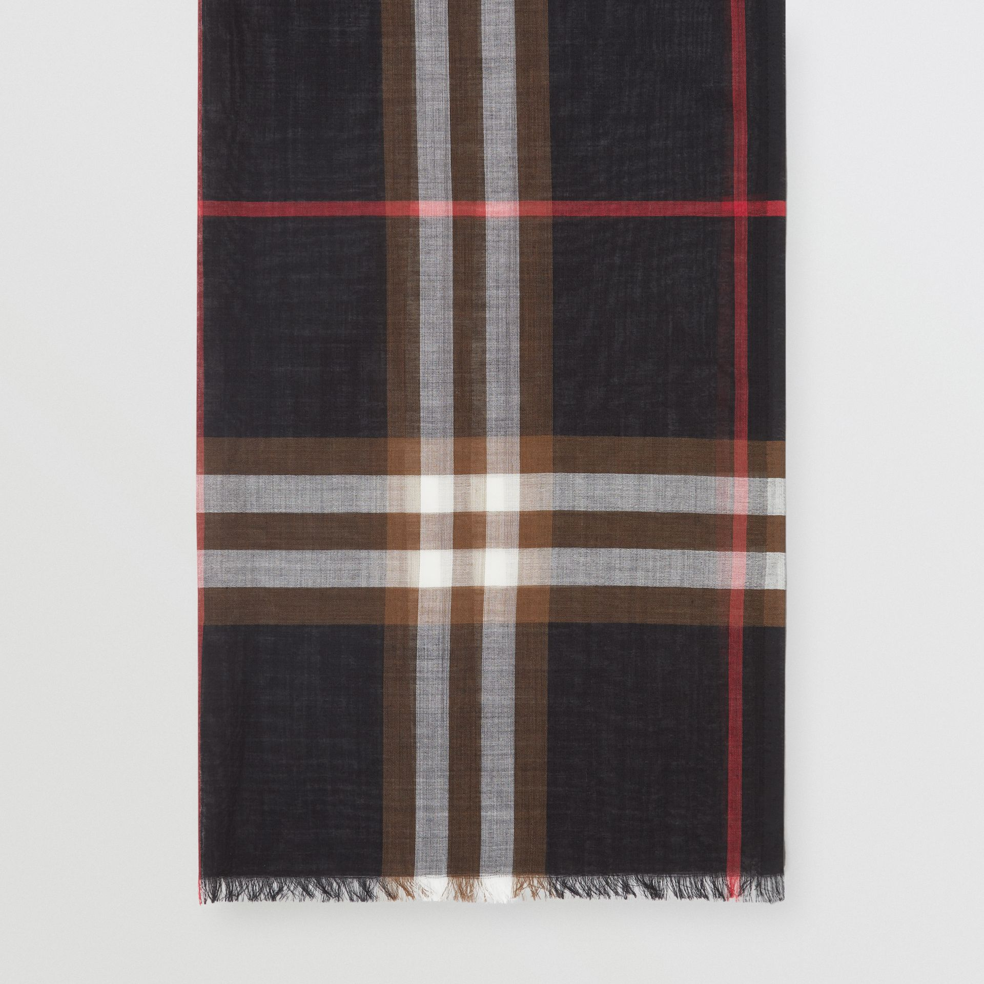 Lightweight Check Wool Silk Scarf in Black / Brown | Burberry United Kingdom - gallery image 4