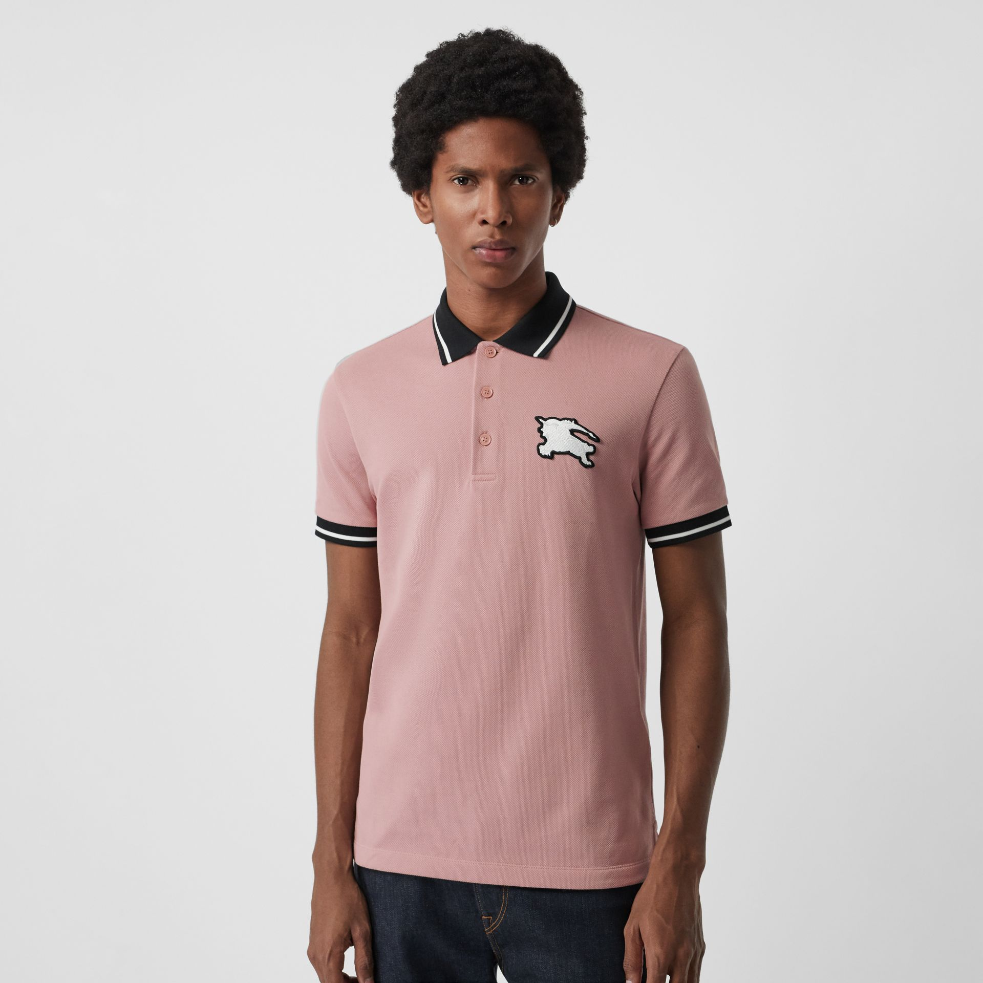 Tipped Cotton Piqué Polo Shirt in Pale Orchid - Men | Burberry United Kingdom - gallery image 0