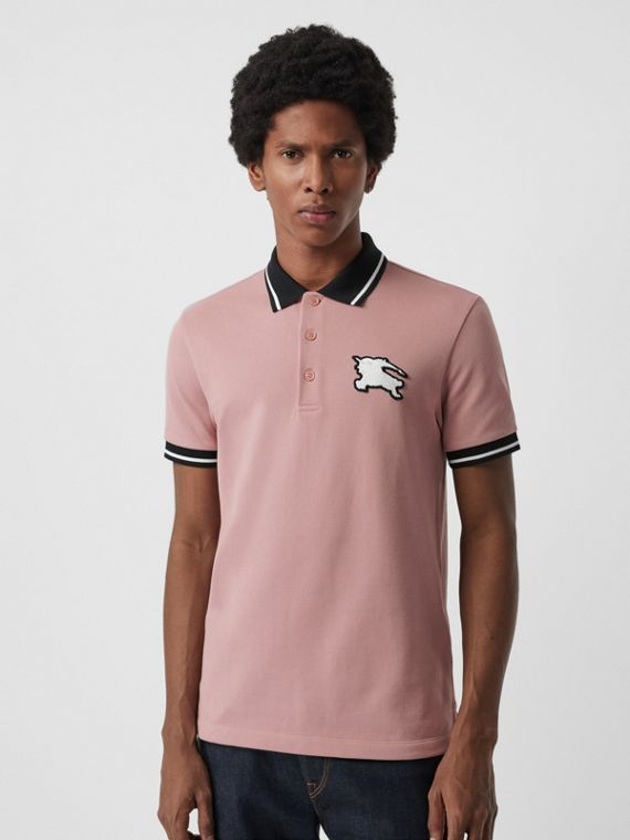 Tipped Cotton Piqué Polo Shirt in Pale Orchid