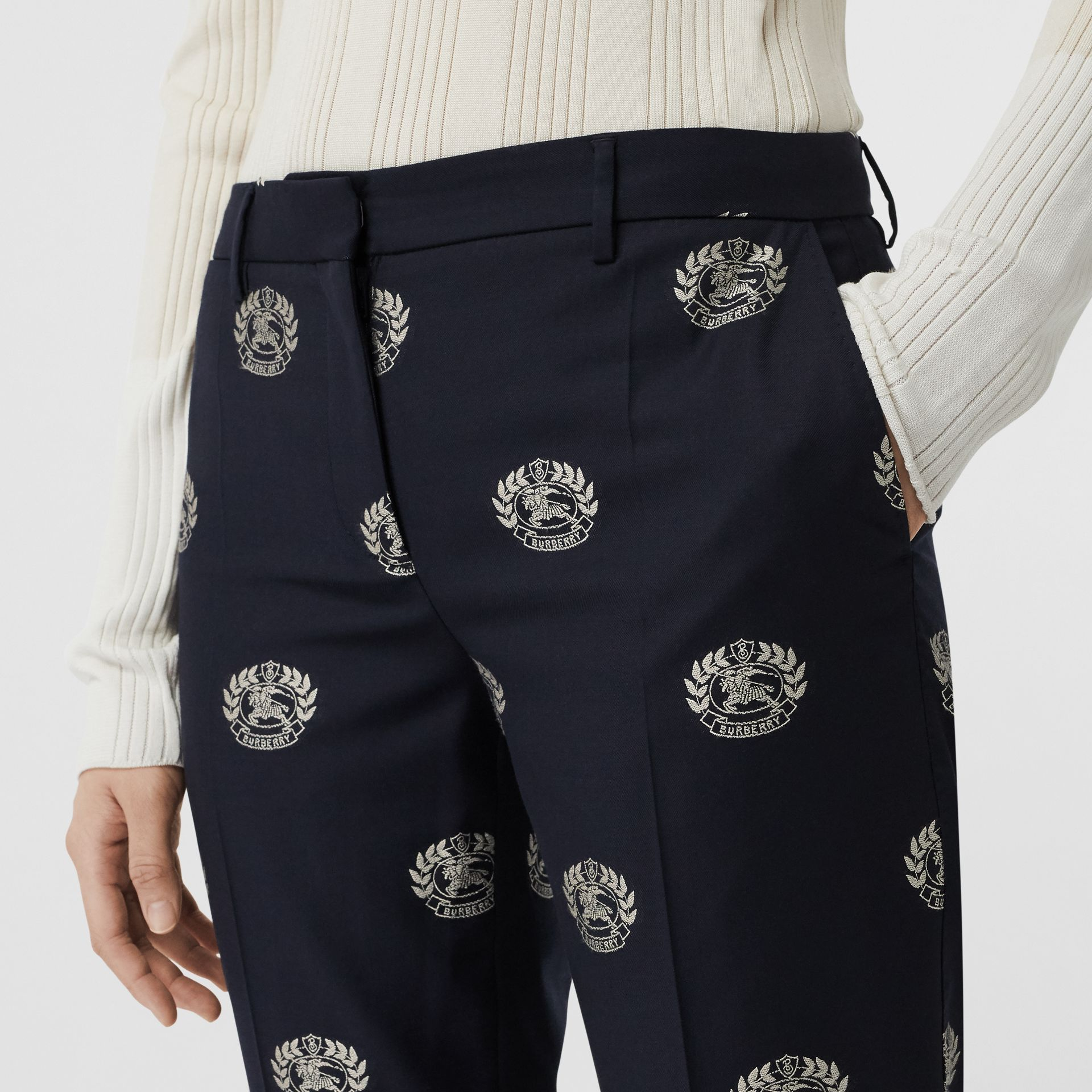 Crest Detail Wool Cropped Tailored Trousers in Midnight Blue - Women | Burberry - gallery image 1