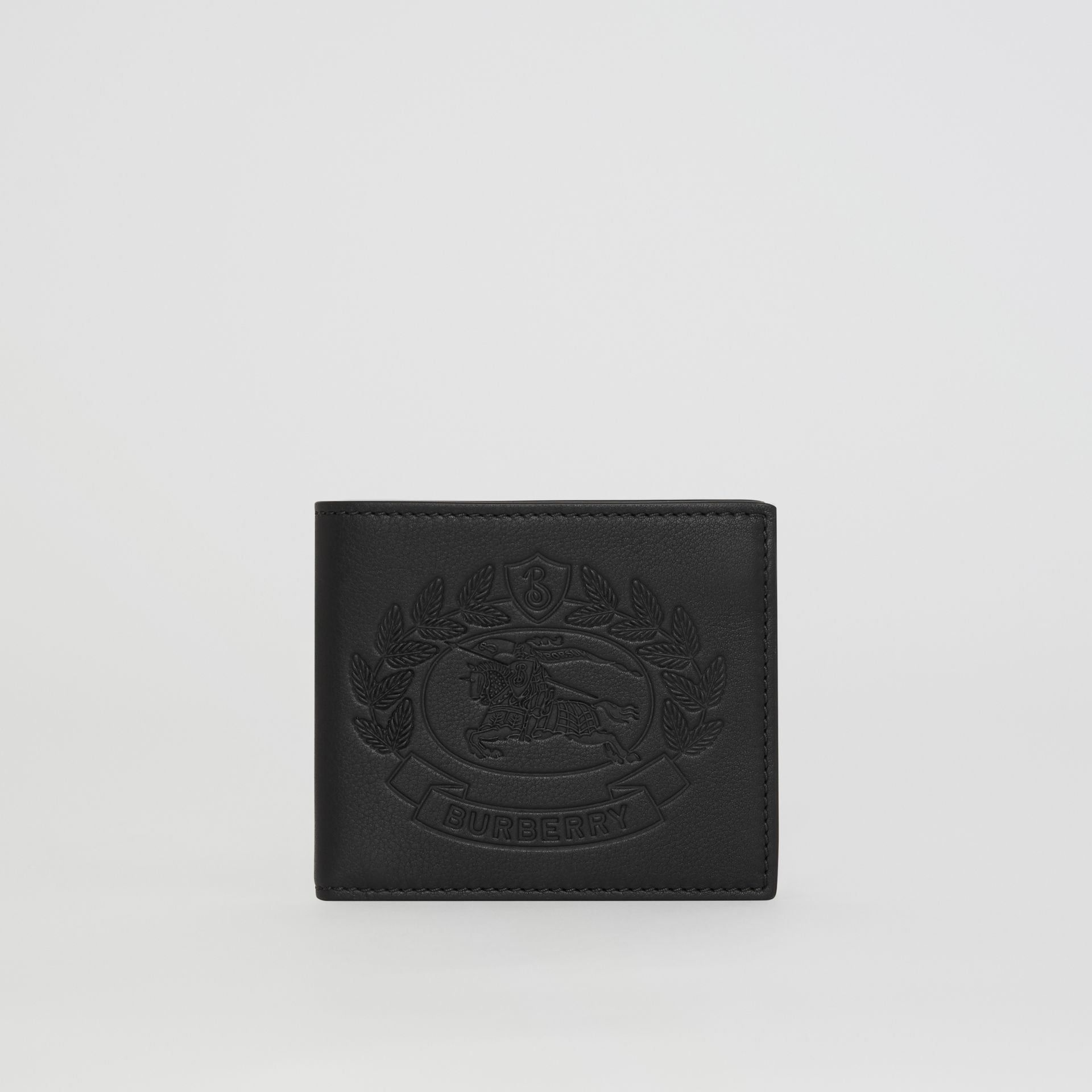 Embossed Crest Leather International Bifold Wallet in Black - Men | Burberry Canada - gallery image 5