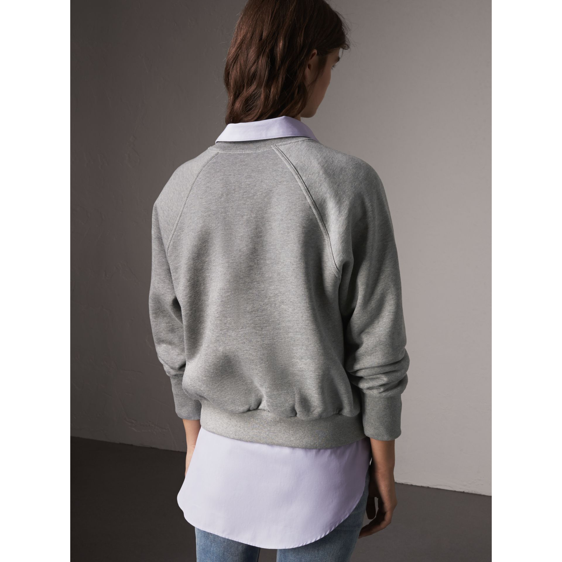 Embroidered Cotton Blend Jersey Sweatshirt in Pale Grey Melange - Women | Burberry Australia - gallery image 3