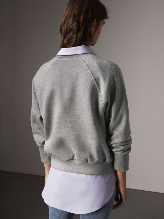 Embroidered Cotton Blend Jersey Sweatshirt in Pale Grey Melange - Women | Burberry Australia - cell image 2