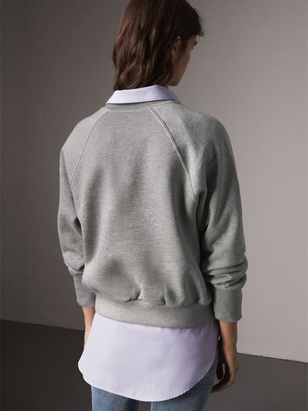 Embroidered Cotton Blend Jersey Sweatshirt in Pale Grey Melange - Women | Burberry - cell image 2