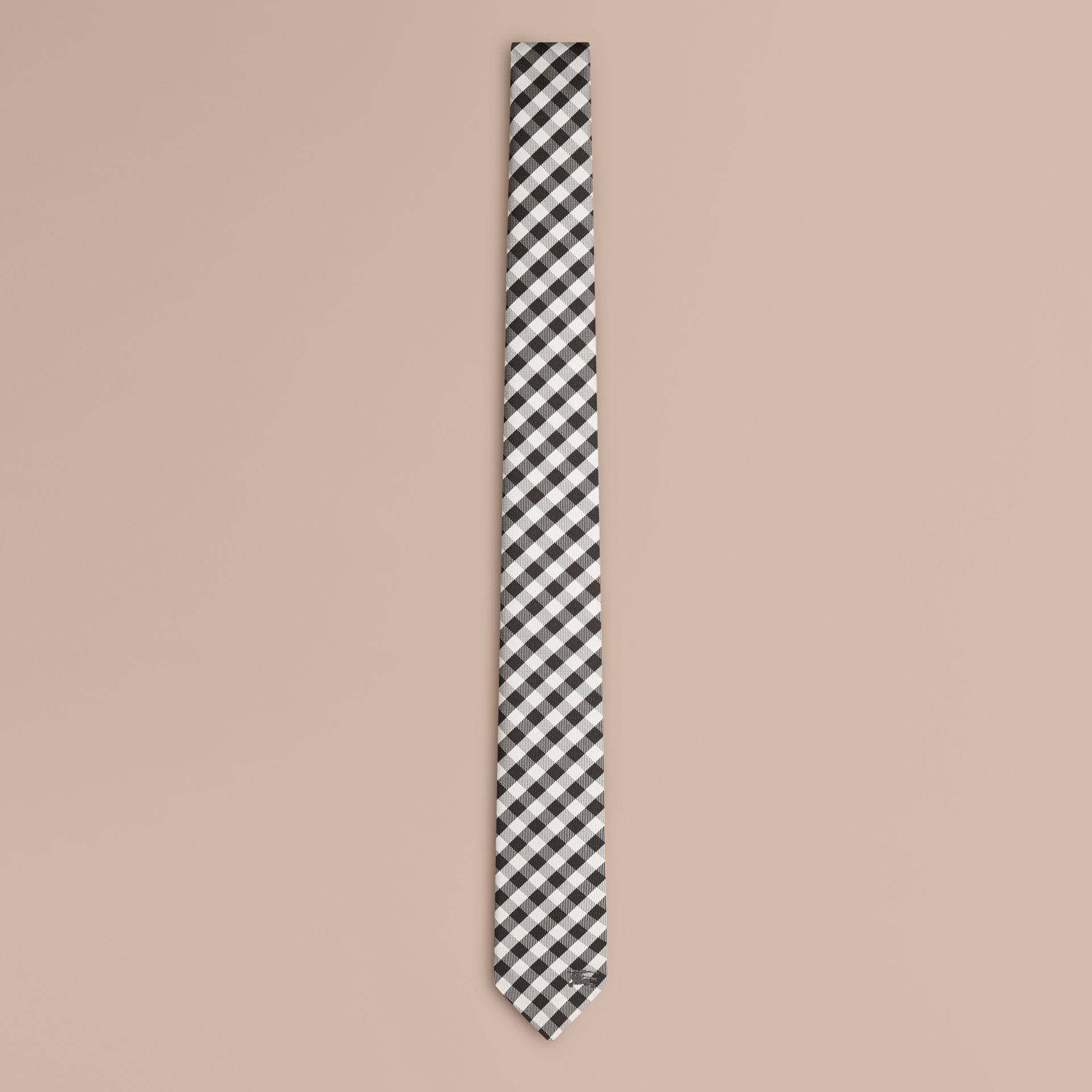 Black Slim Cut Check Jacquard Silk Tie - gallery image 1