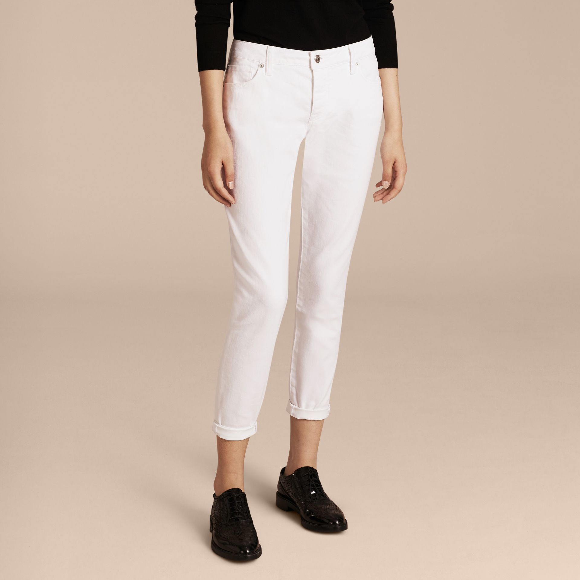 White Relaxed Fit Japanese Comfort Stretch Jeans - gallery image 7