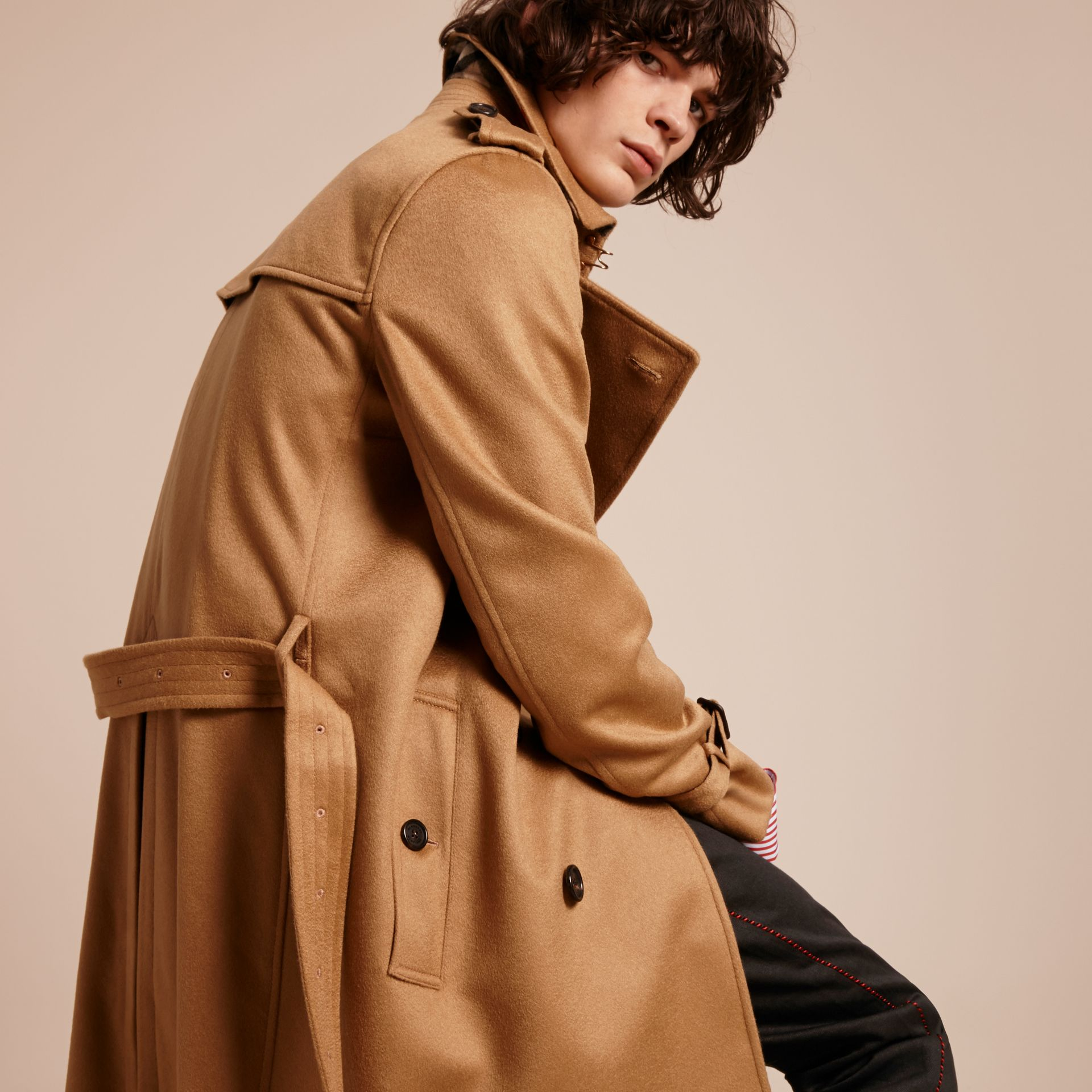 Cashmere Trench Coat Dark Camel - gallery image 7