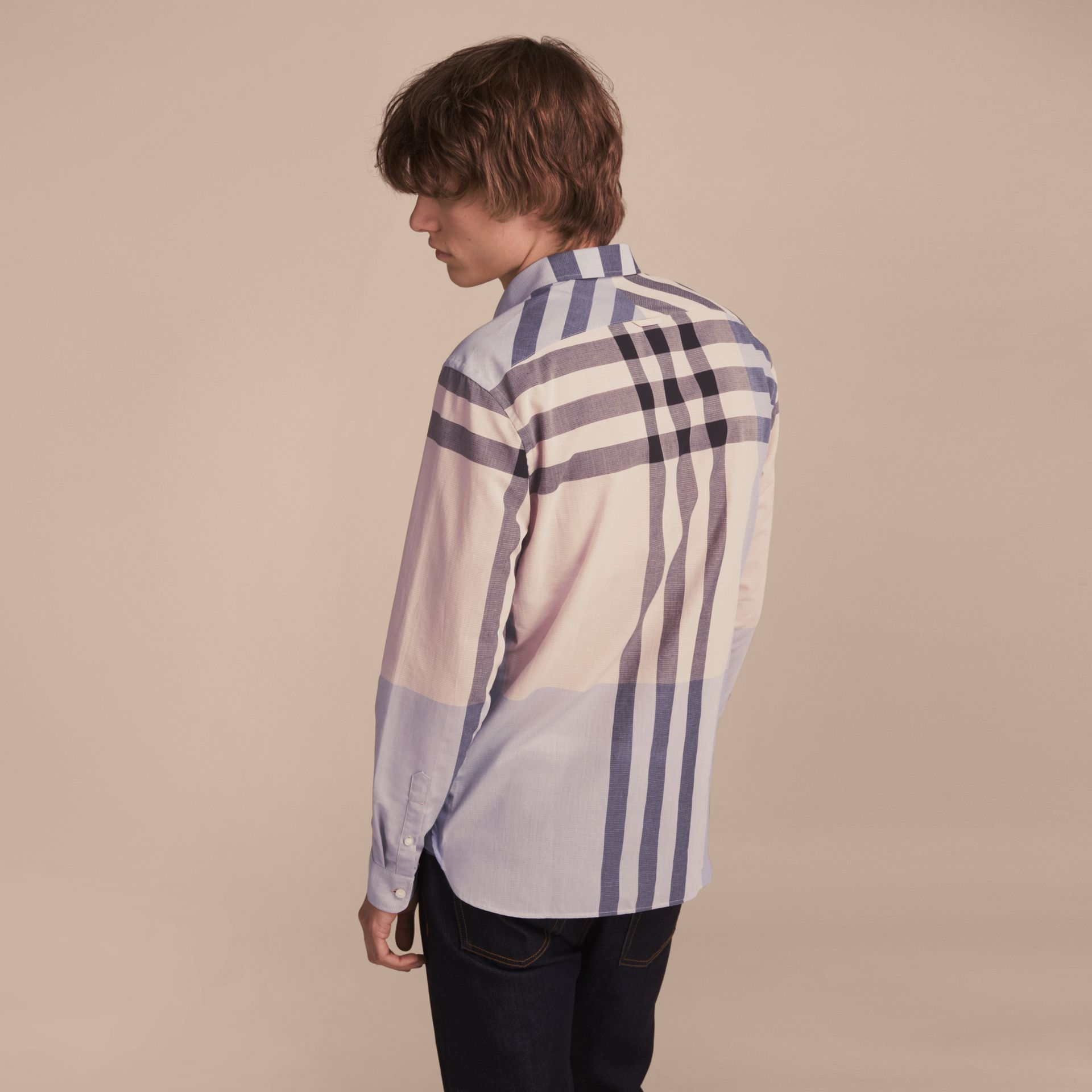 Check Cotton Poplin and Linen Shirt Pale Cornflower Blue - gallery image 3