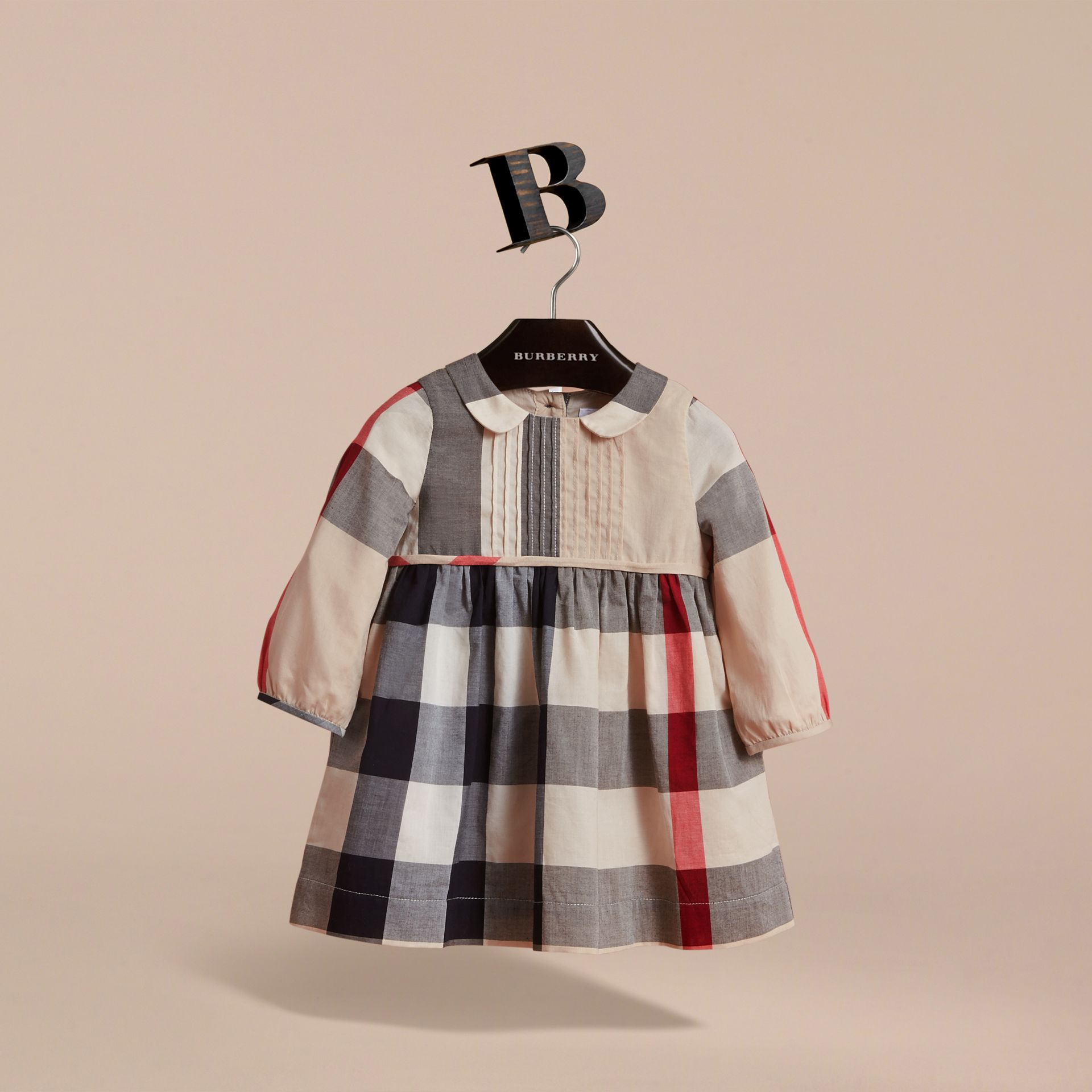 Long-sleeve Check Pintuck Bib Cotton Dress in New Classic | Burberry - gallery image 3