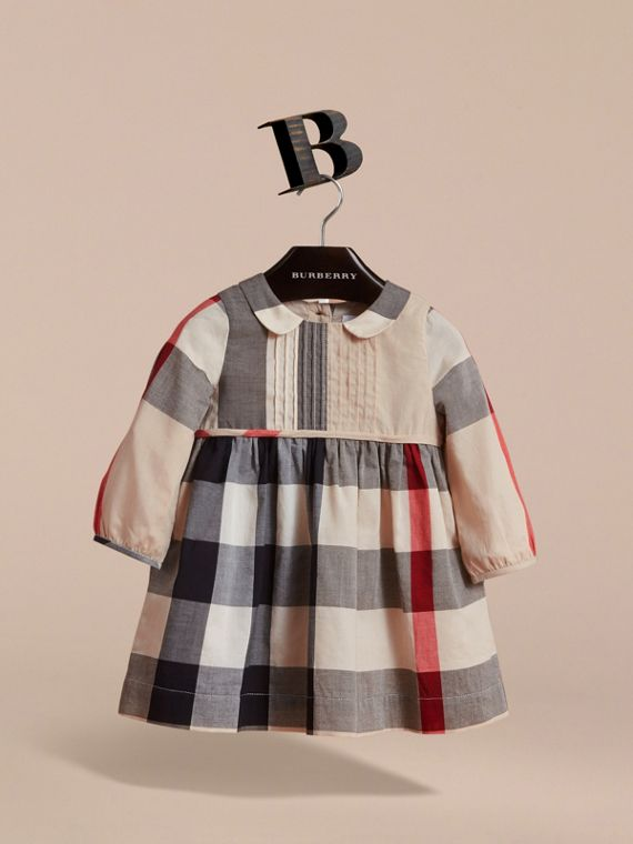 Long-sleeve Check Pintuck Bib Cotton Dress in New Classic | Burberry - cell image 2