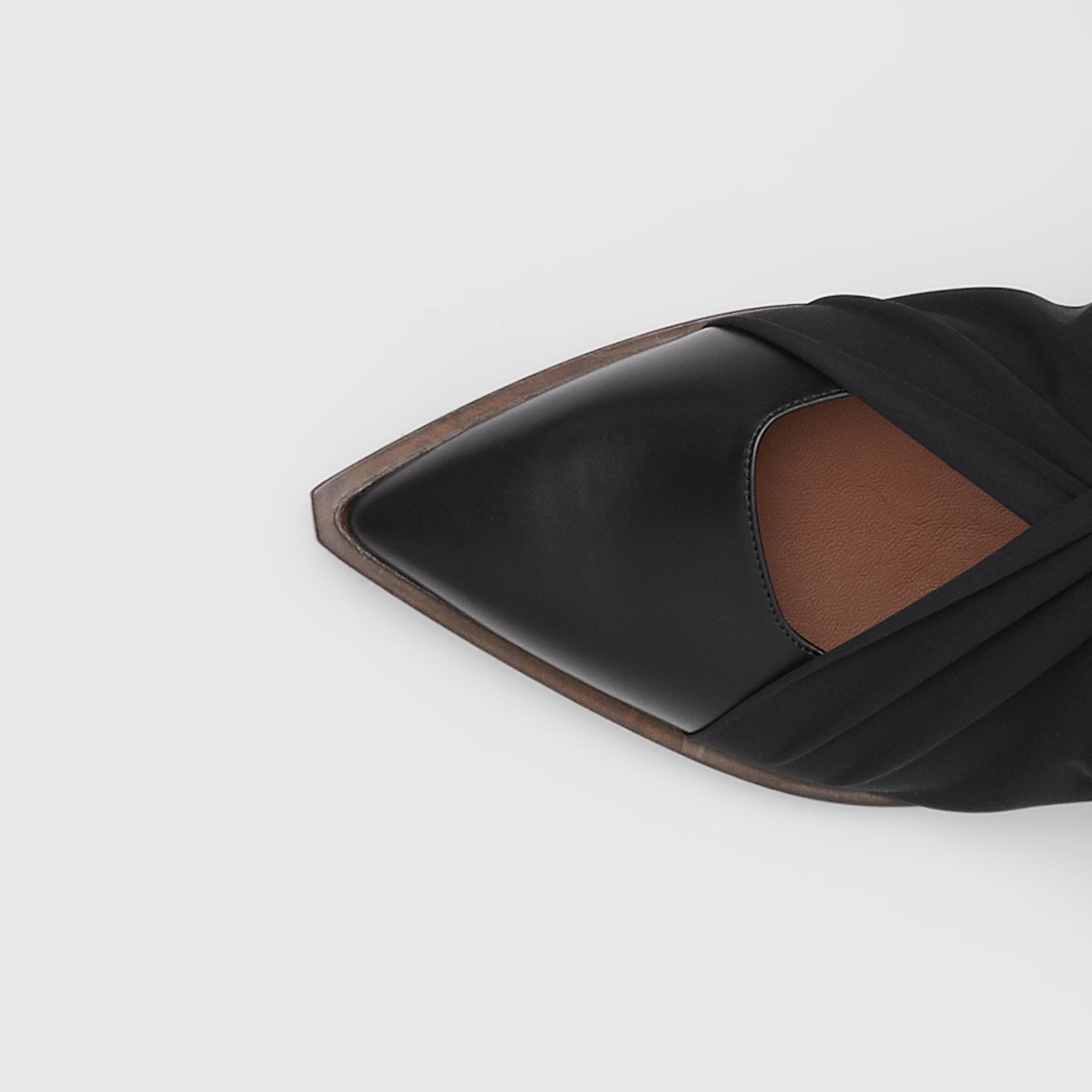 Scarf Tie Detail Leather Point-toe Mules in Black - Women | Burberry - 2