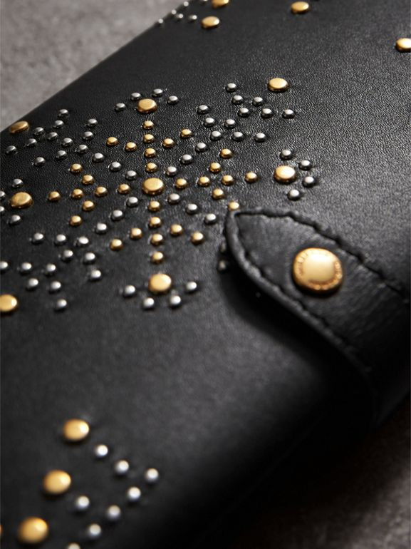 Riveted Equestrian Shield Leather Continental Wallet in Black - Women | Burberry United Kingdom - cell image 1