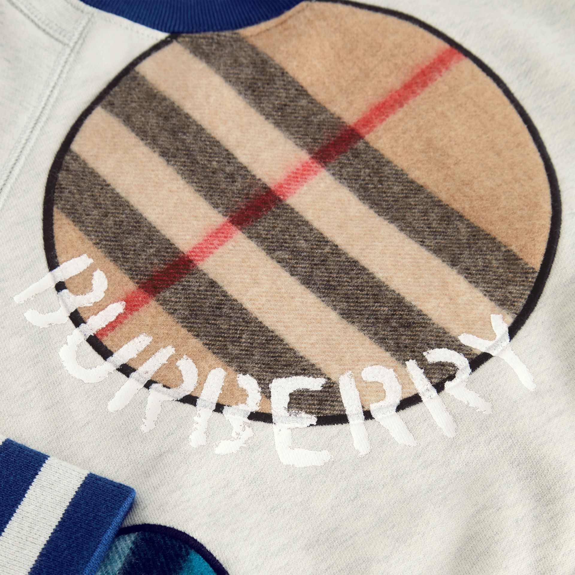 Check Appliqué Cotton Sweatshirt in Multicolour | Burberry Canada - gallery image 1