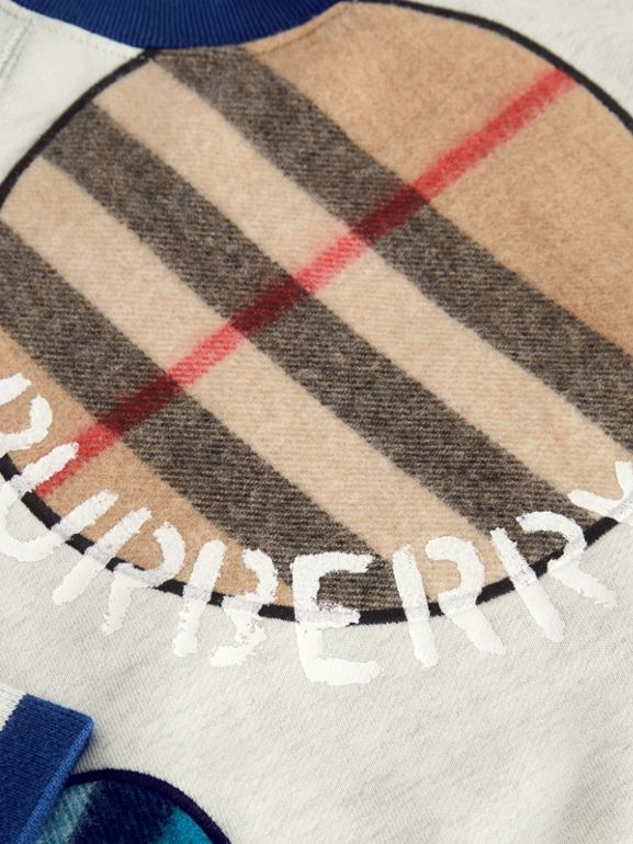 Check Appliqué Cotton Sweatshirt in Multicolour | Burberry Canada - cell image 1