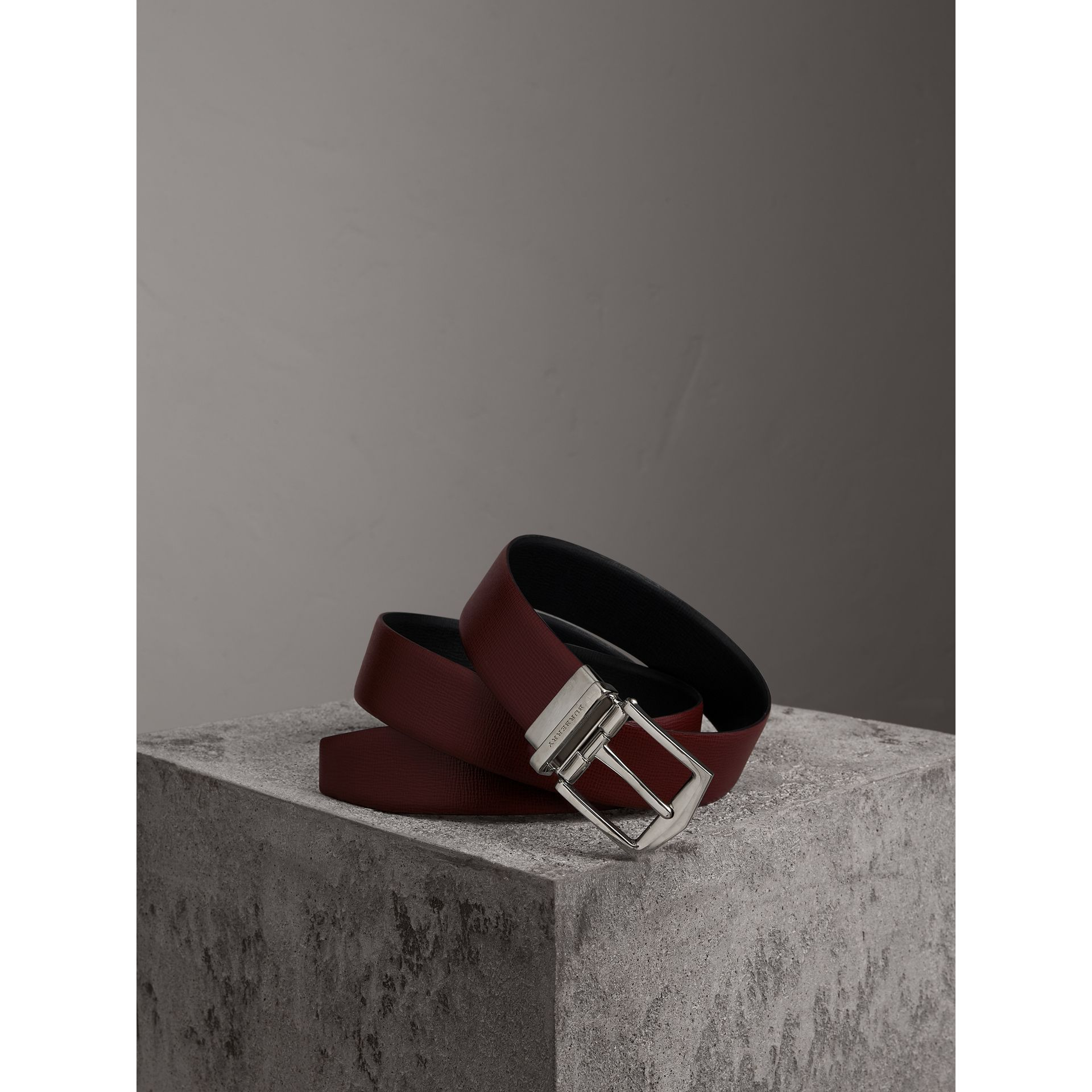 Reversible London Leather Belt in Burgundy Red/black - Men | Burberry Canada - gallery image 0