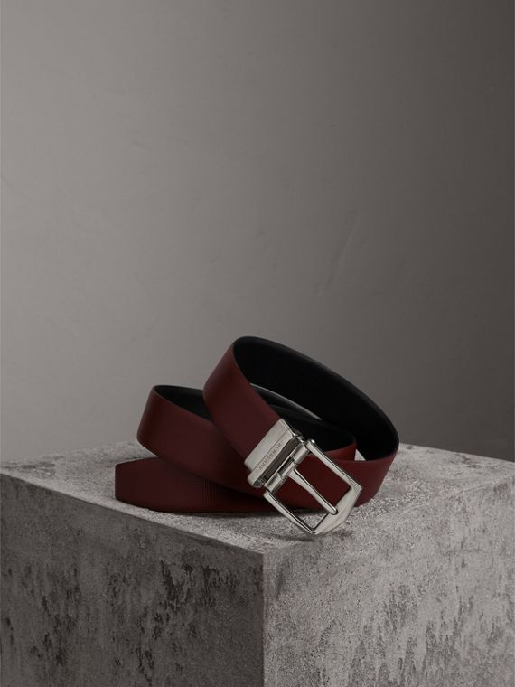 Reversible London Leather Belt in Burgundy Red/black