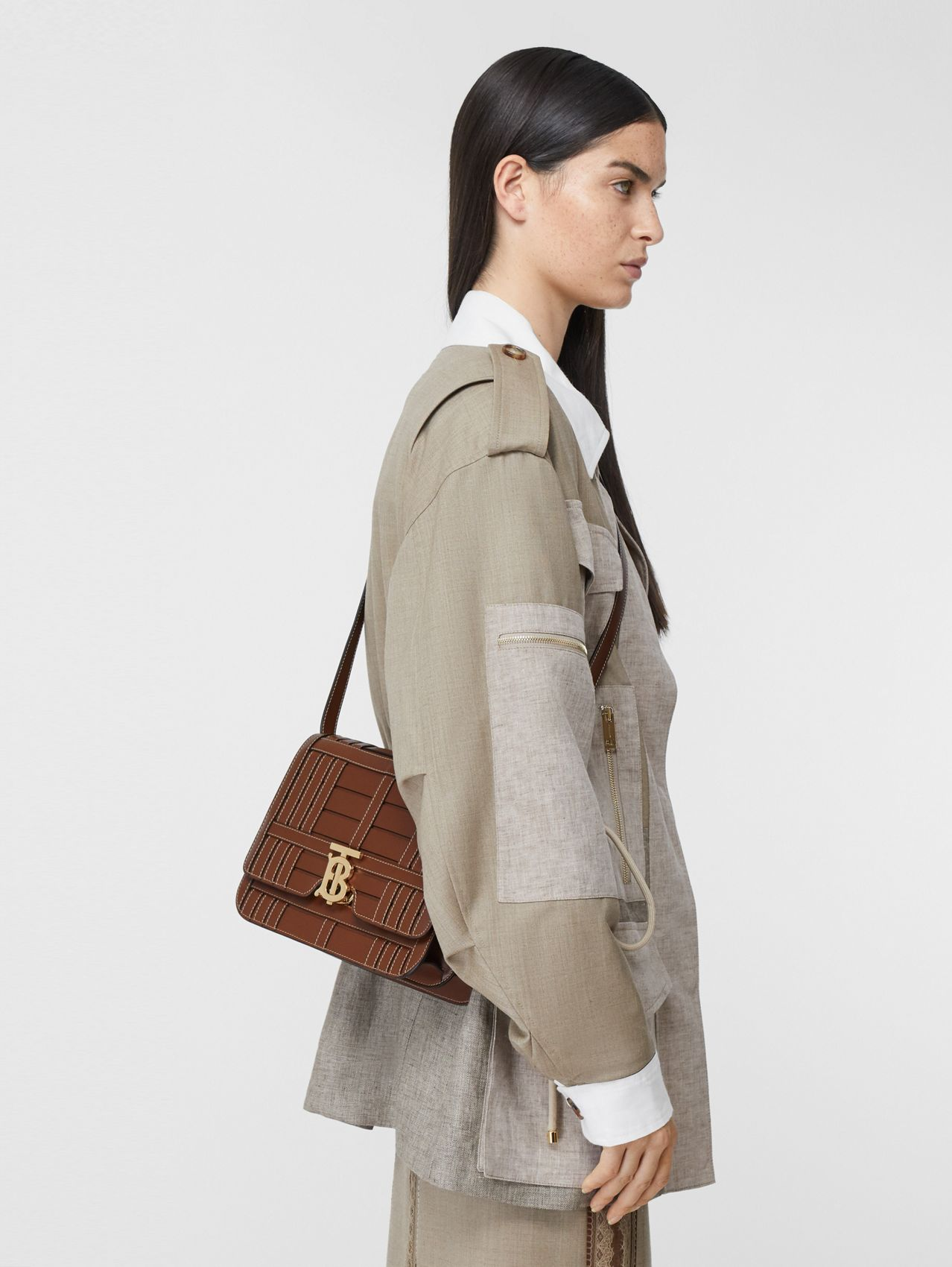 Medium Woven Leather TB Bag in Tan