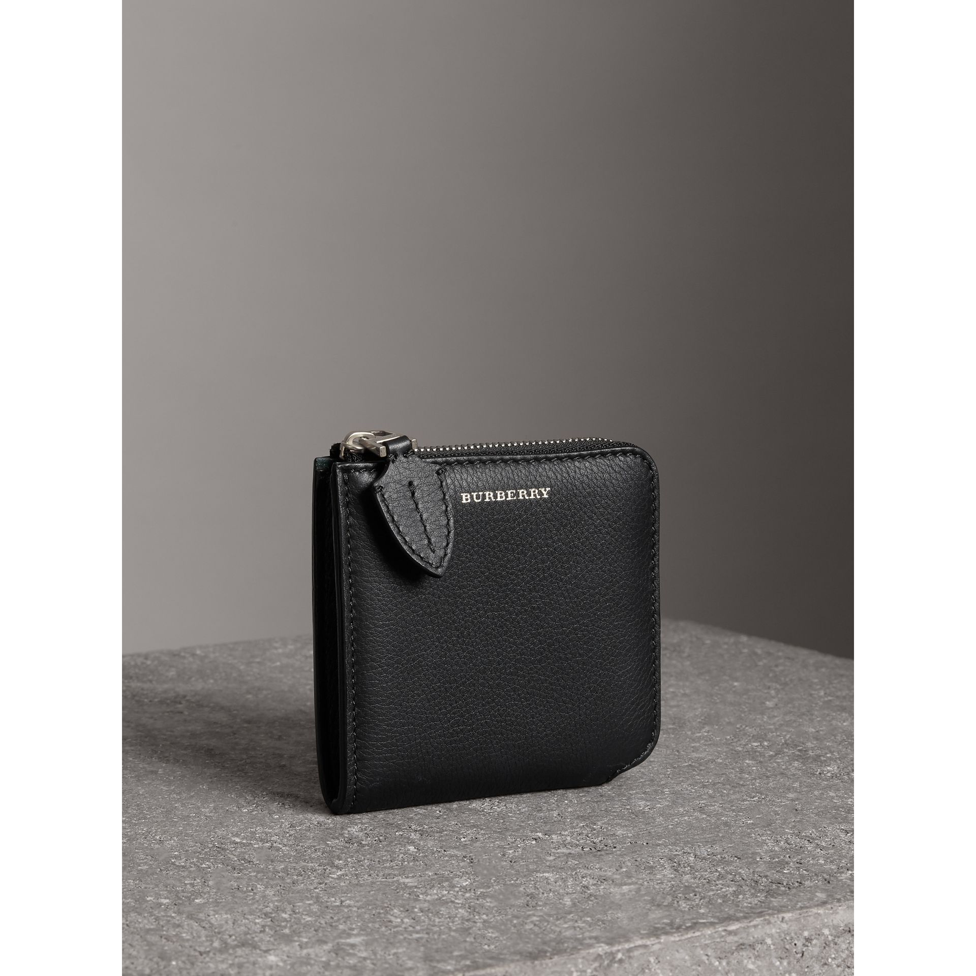 Grainy Leather Square Ziparound Wallet in Black - Women | Burberry - gallery image 4