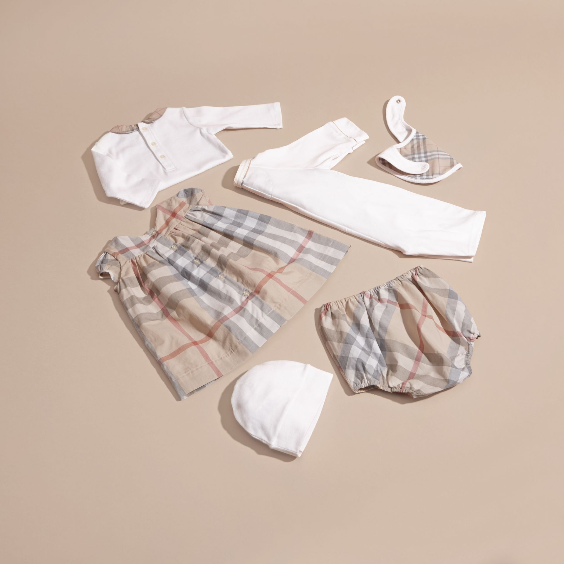 Cotton Six-piece Baby Gift Set in White | Burberry - gallery image 4