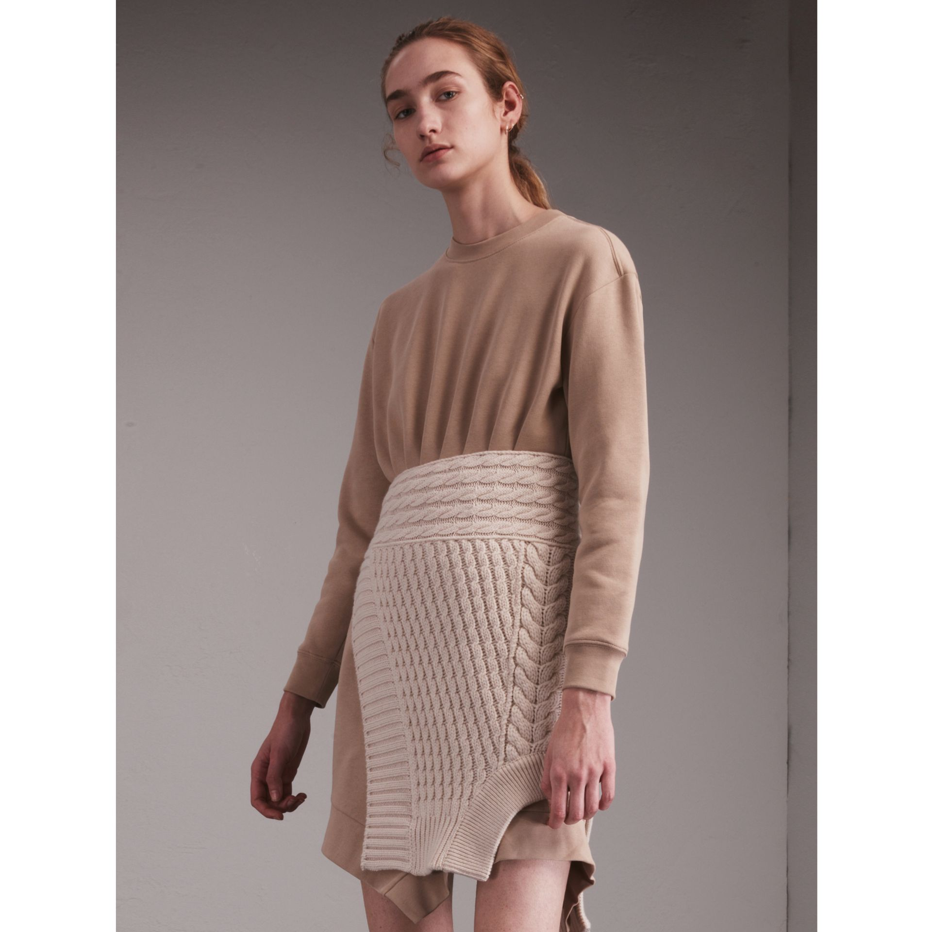 Cashmere Cable Knit Panel Sweatshirt Dress in Natural White - Women | Burberry - gallery image 1