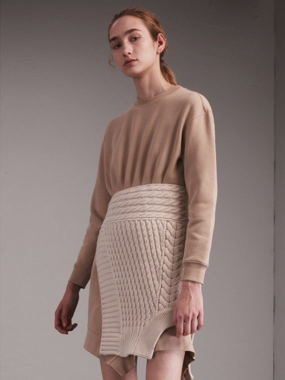 Cashmere Cable Knit Panel Sweatshirt Dress