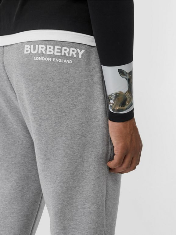Logo Print Cotton Trackpants in Pale Grey Melange - Men | Burberry - cell image 1
