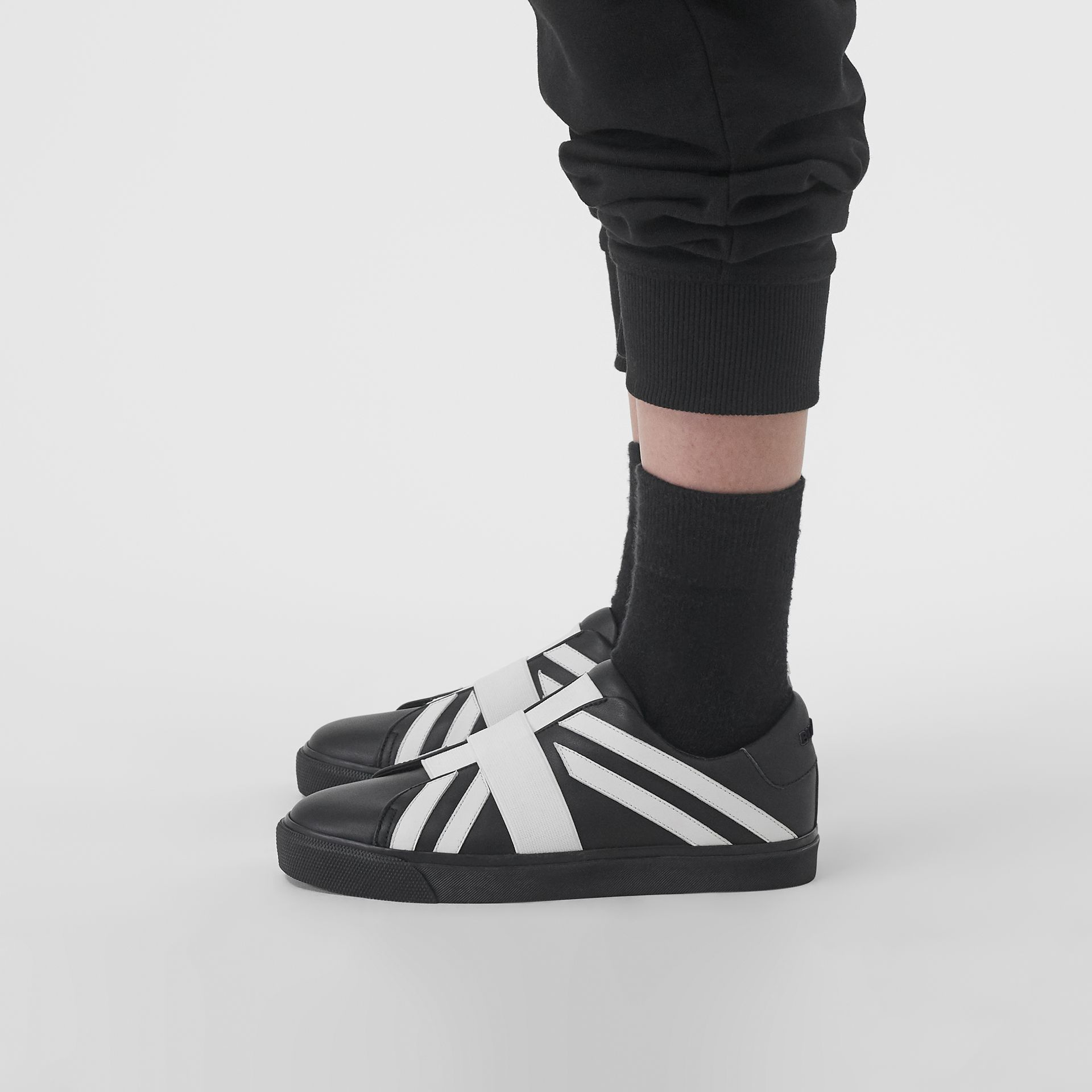 Union Jack Motif Slip-on Sneakers in Black/optic White - Women | Burberry Australia - gallery image 2
