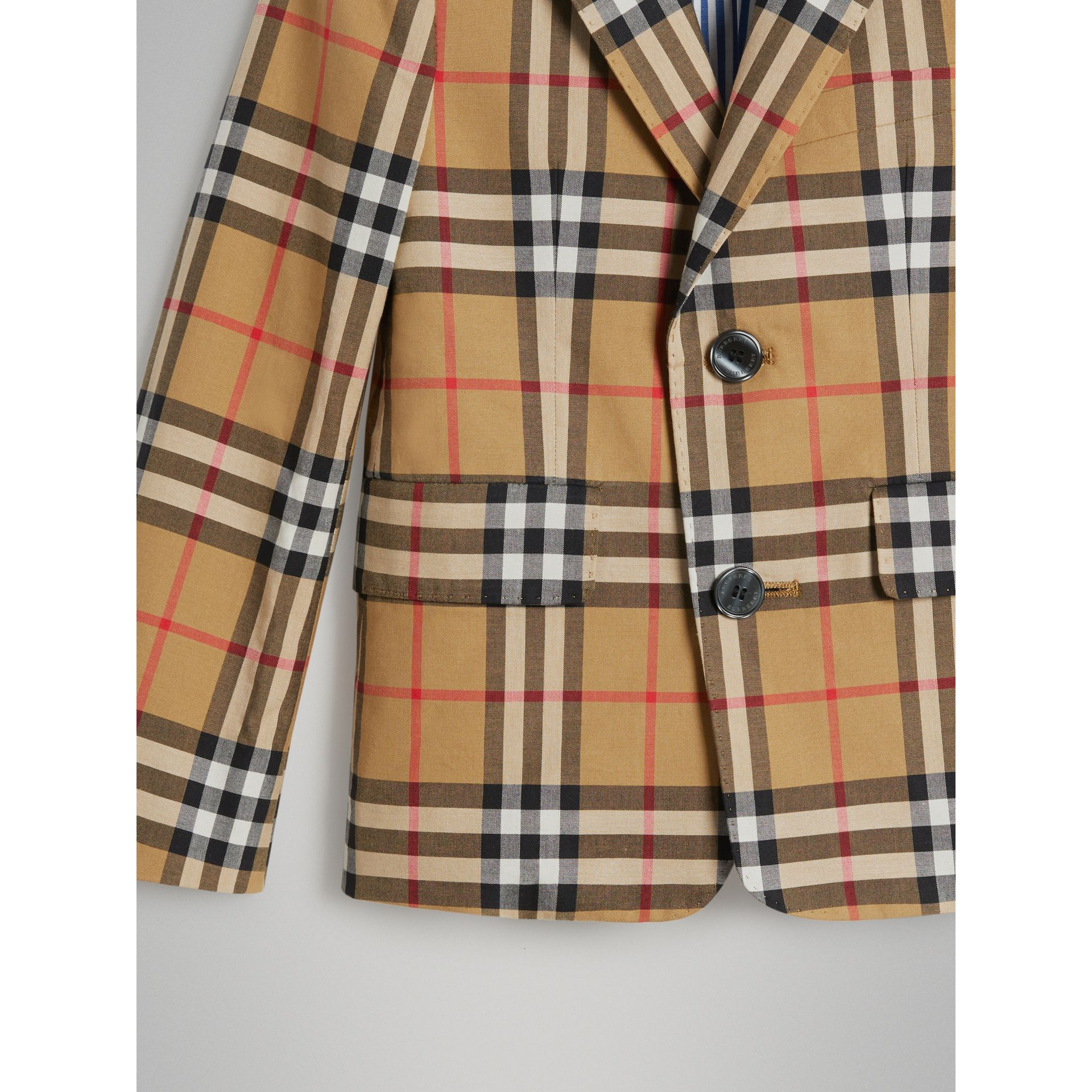 Vintage Check Cotton Blazer in Antique Yellow | Burberry Australia - gallery image 4