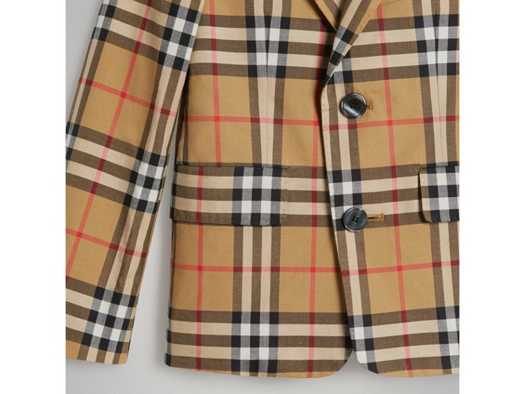 Vintage Check Cotton Blazer in Antique Yellow - Boy | Burberry - cell image 4
