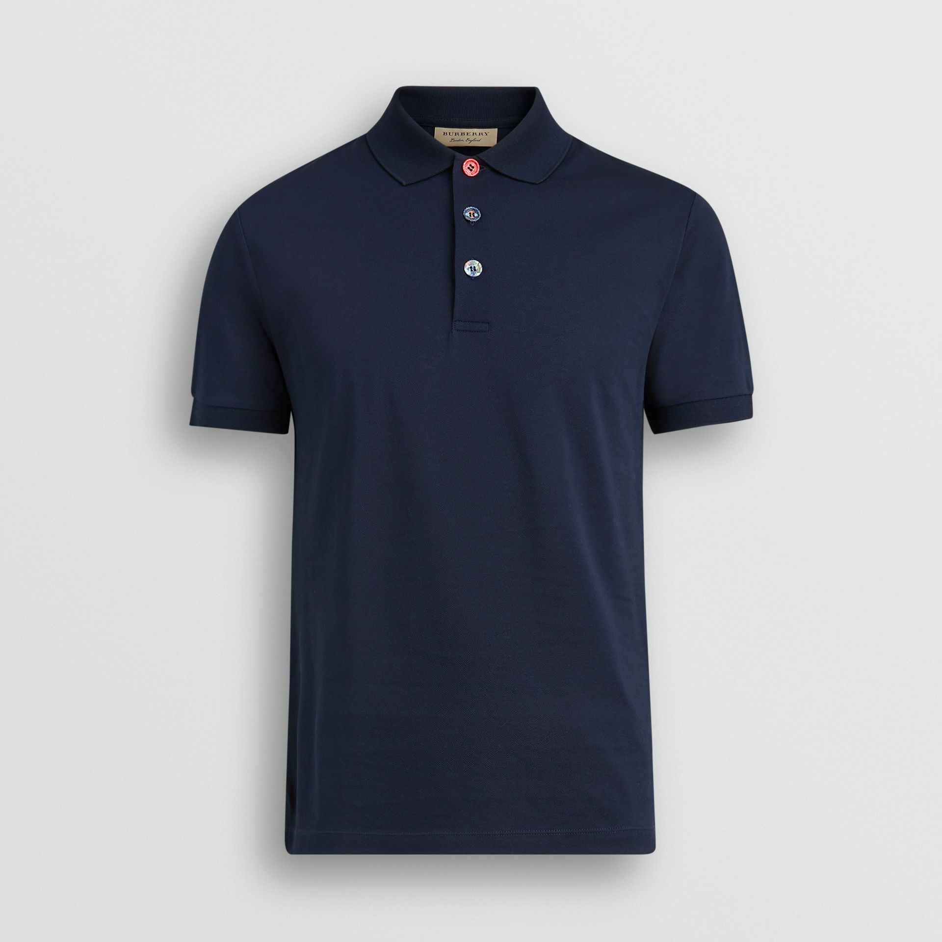 Painted Button Cotton Piqué Polo Shirt in Navy - Men | Burberry - gallery image 3