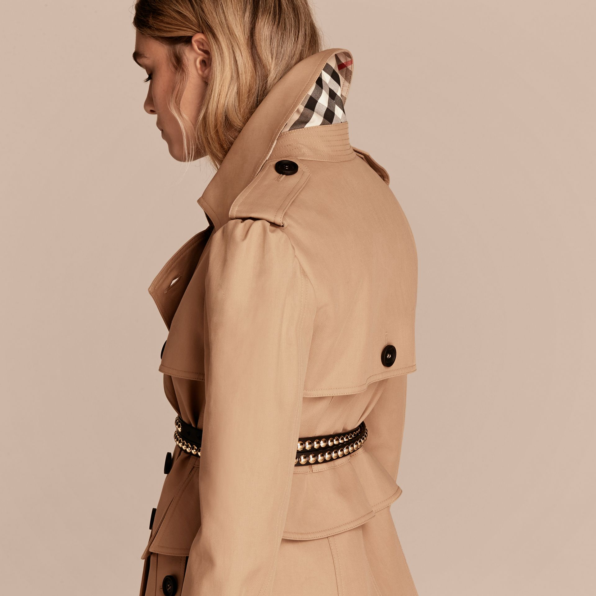Honey Cotton Gabardine Trench Coat with Notched Waist - gallery image 6